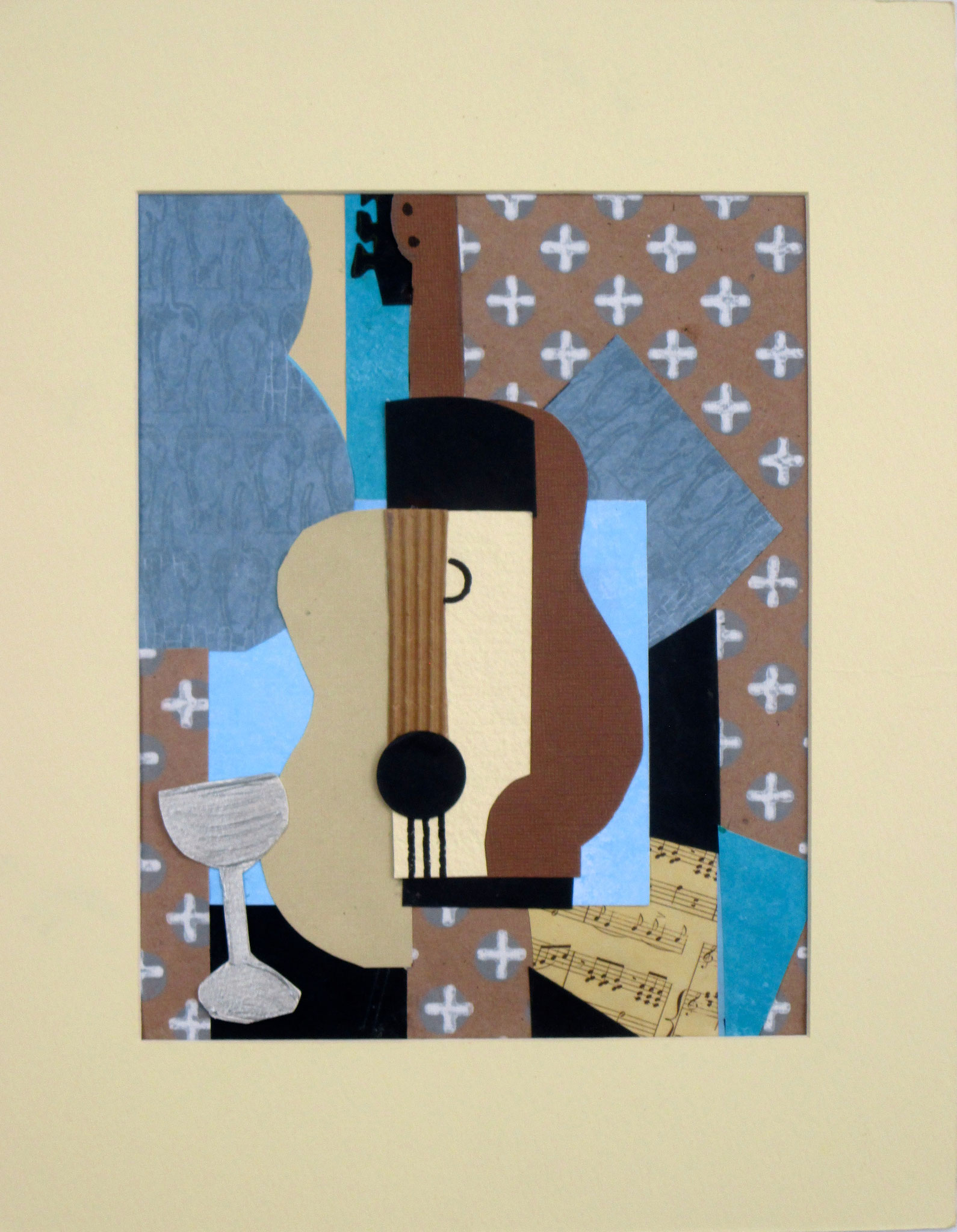Guitar with Wine Goblet, collage on paper, 11 x 14, matted, 2017