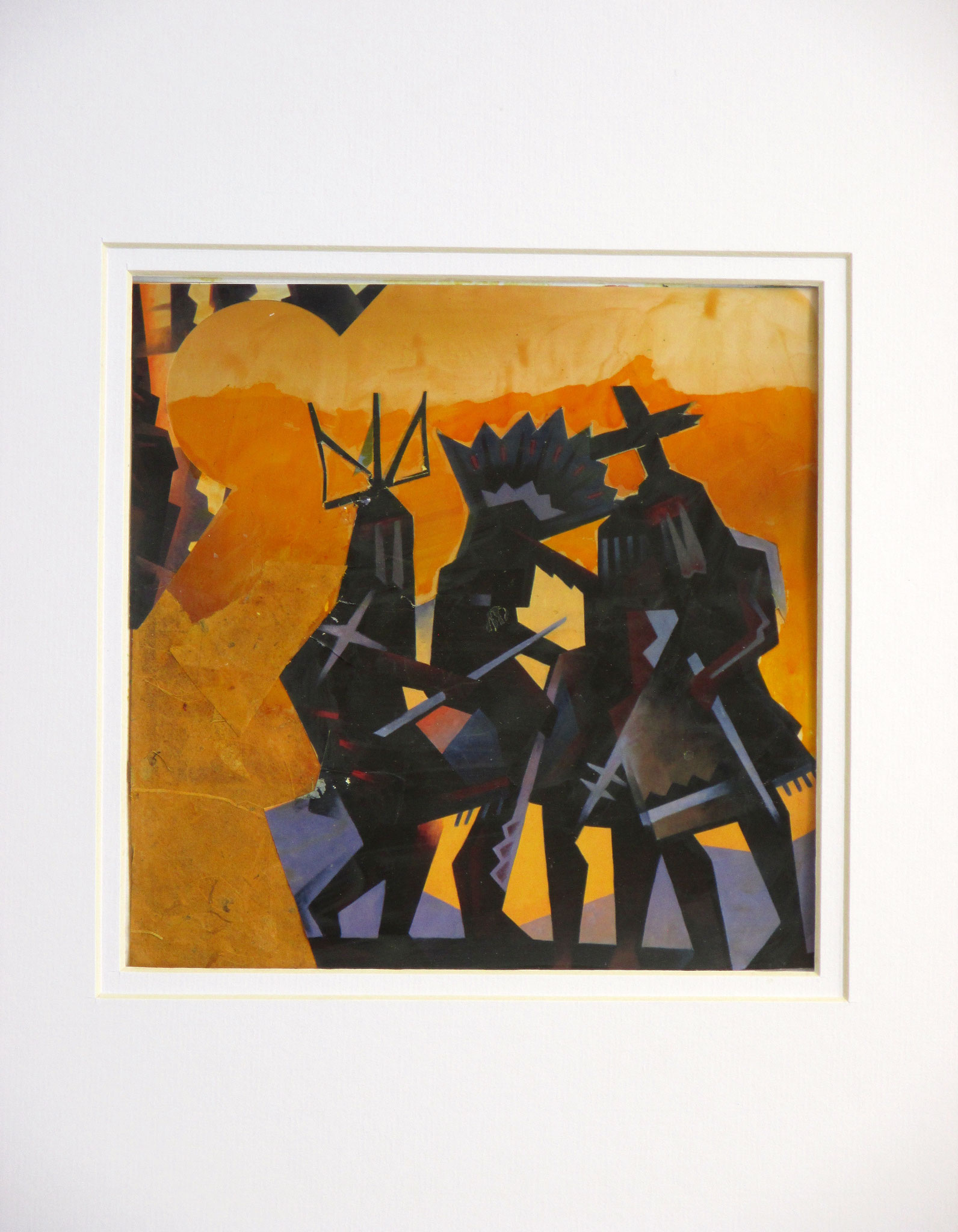 Native Dancers, collage on paper, 11 x 14, matted, 2016, SOLD