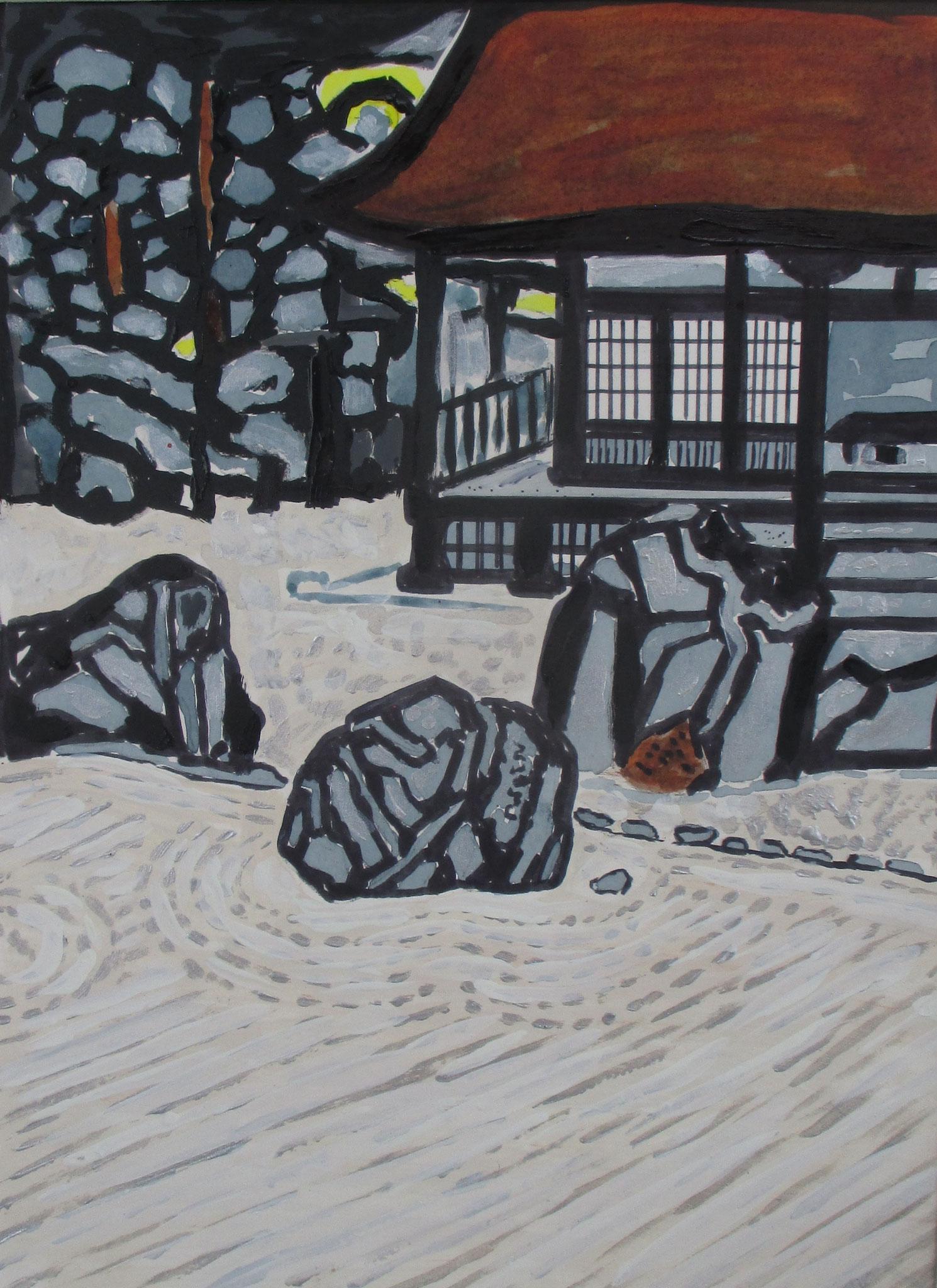 Zen Rock Garden 禅園, watercolor, 11 x 14 matted