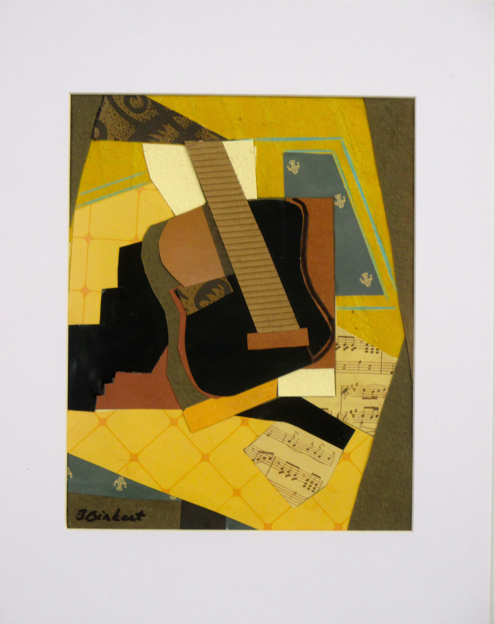 Lonely Guitar, collage on paper, 11 x 14, matted, 2017