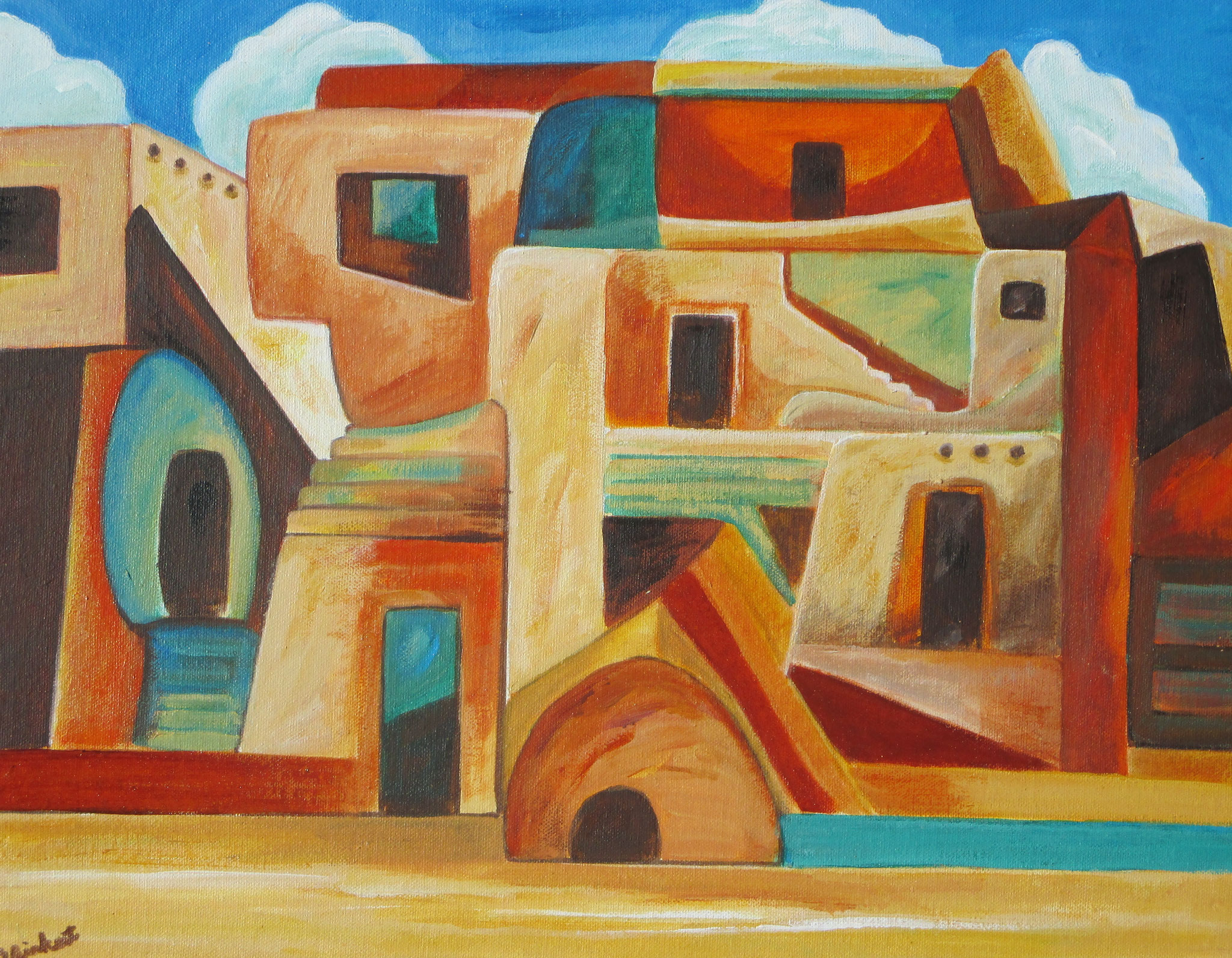 Cliff Dwellings, oil on canvas, 18 x 24