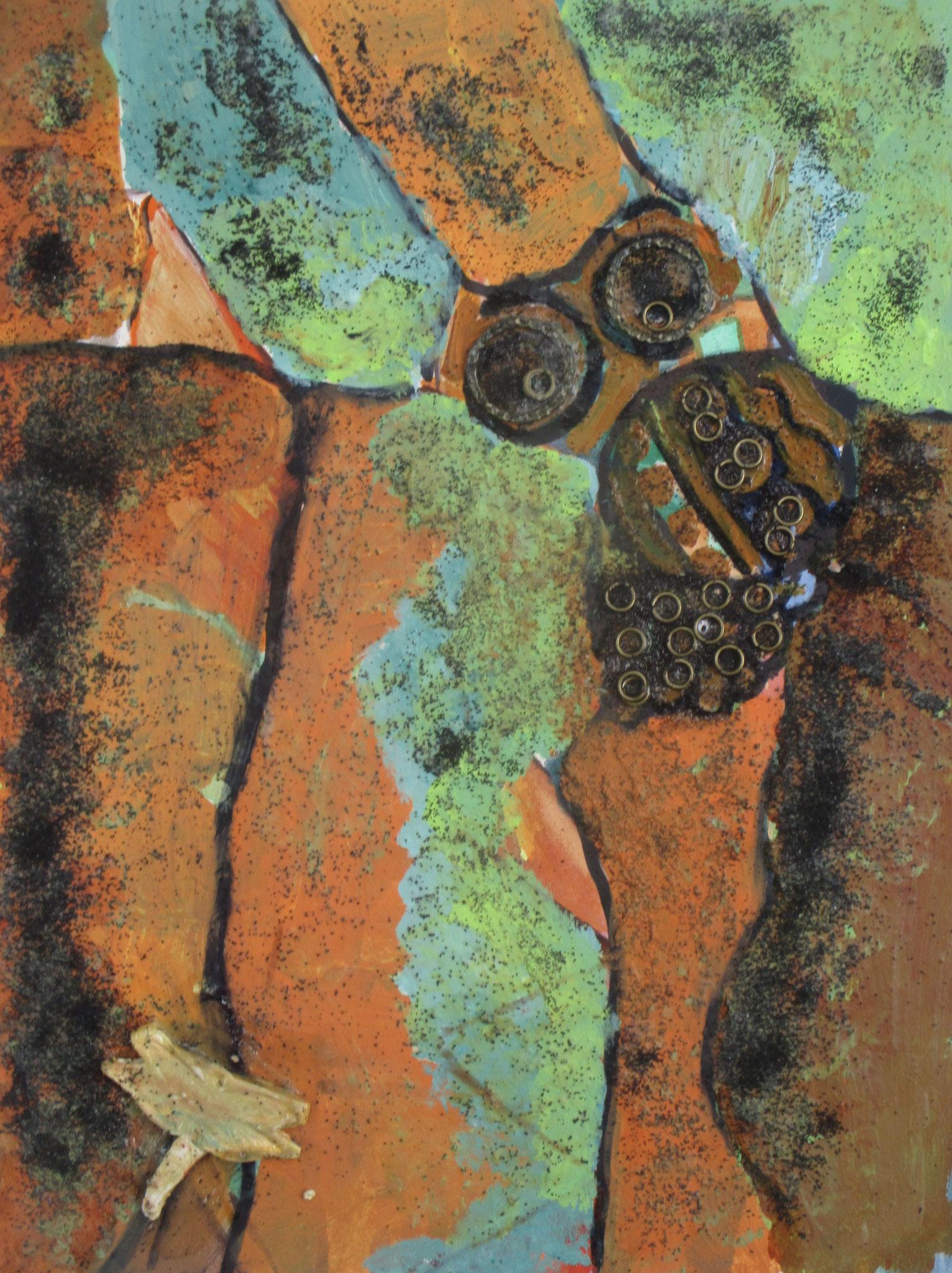 Dragonfly Rock, acrylic, metal, clay on board, 9 x 12