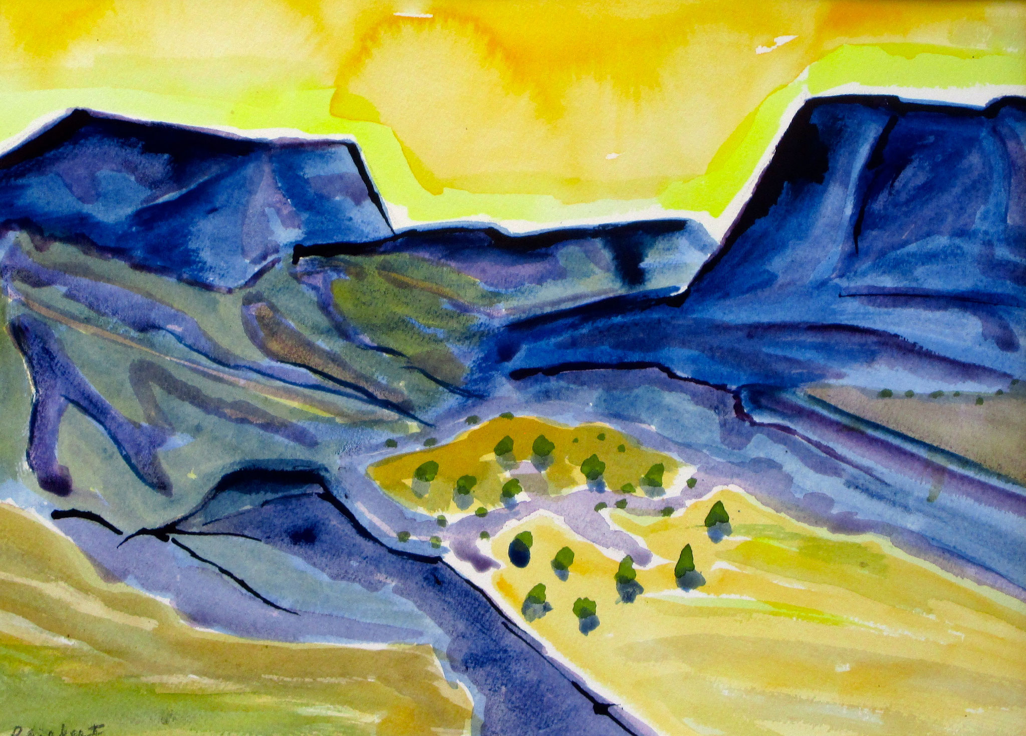 Purple Mountain Majesty, watercolor, 24 x 18, matted, SOLD