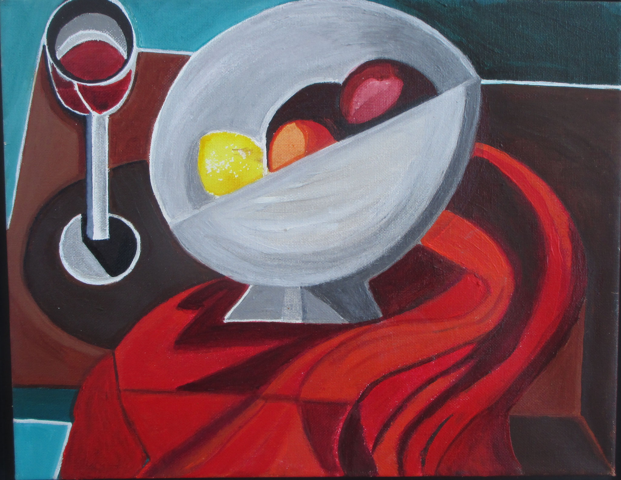 Nambe Fruit Bowl and Wine Glass, acrylic on canvas, 14 x 11