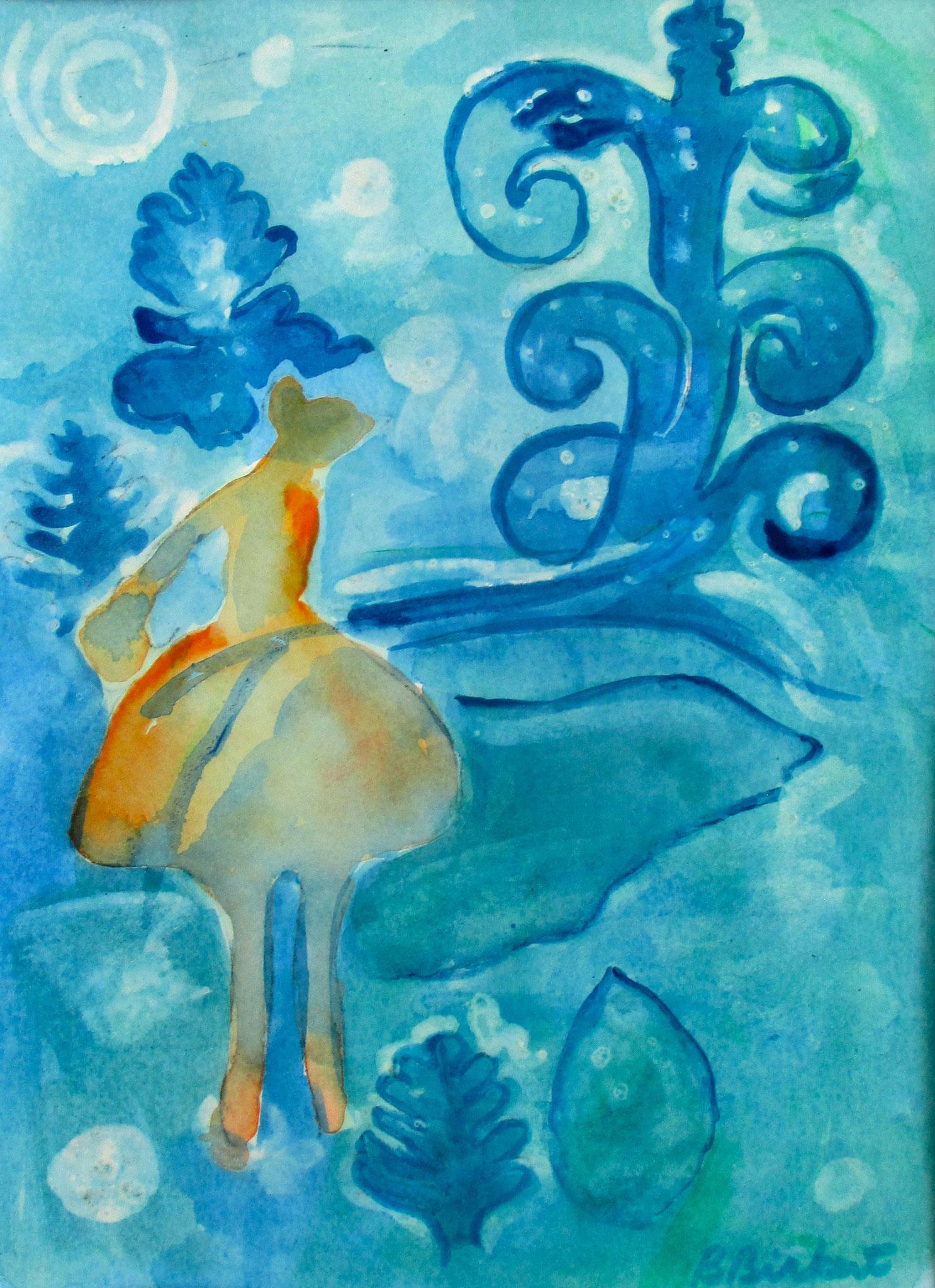 Moon Maiden, watercolor, 11 x 14