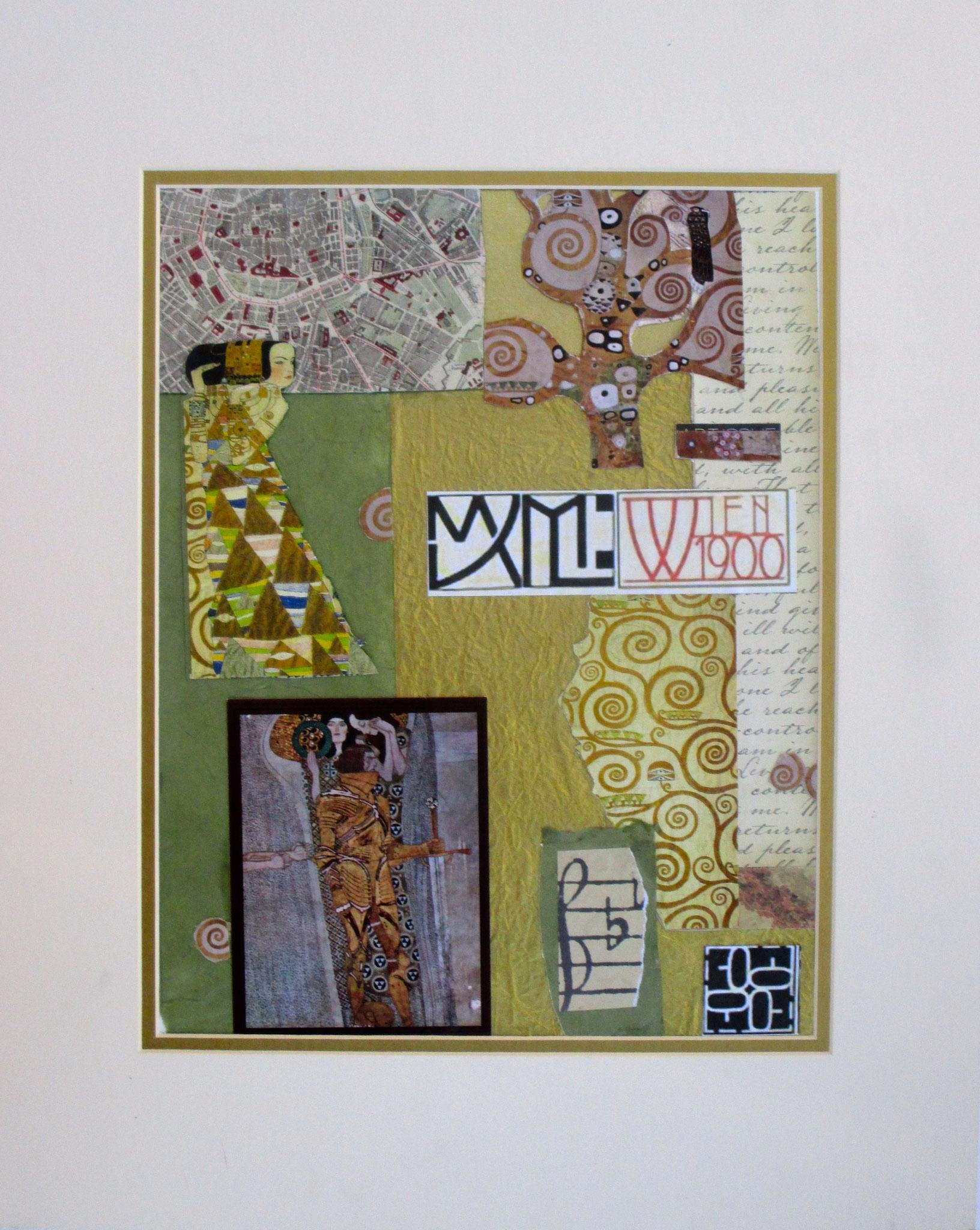 Klimpt's Vienna, collage on paper, 12 x 16, matted, 2017