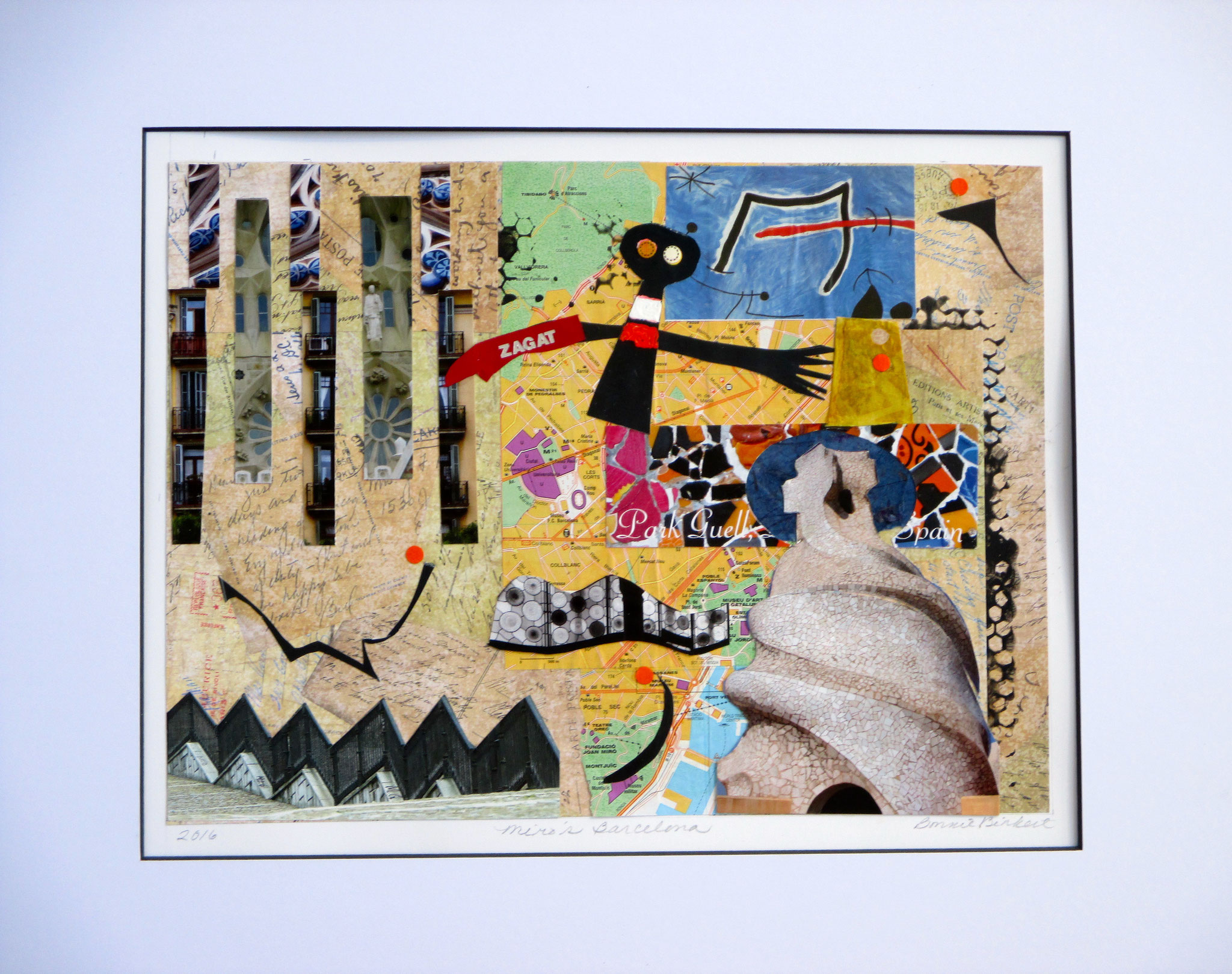 Miro's Barcelona, collage on paper, 20 x 16, matted, 2016