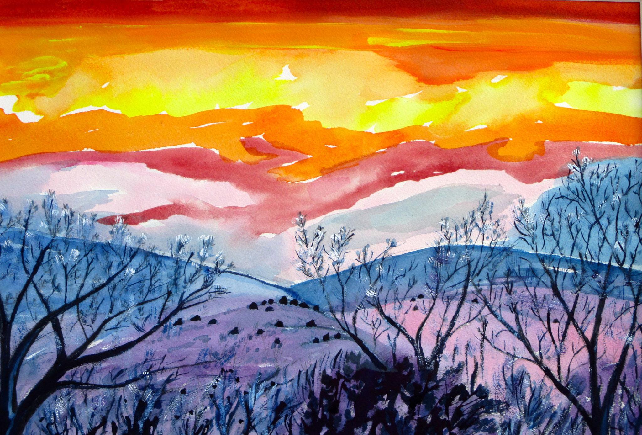 Santa Fe Sunset, watercolor, 24 x 18, SOLD