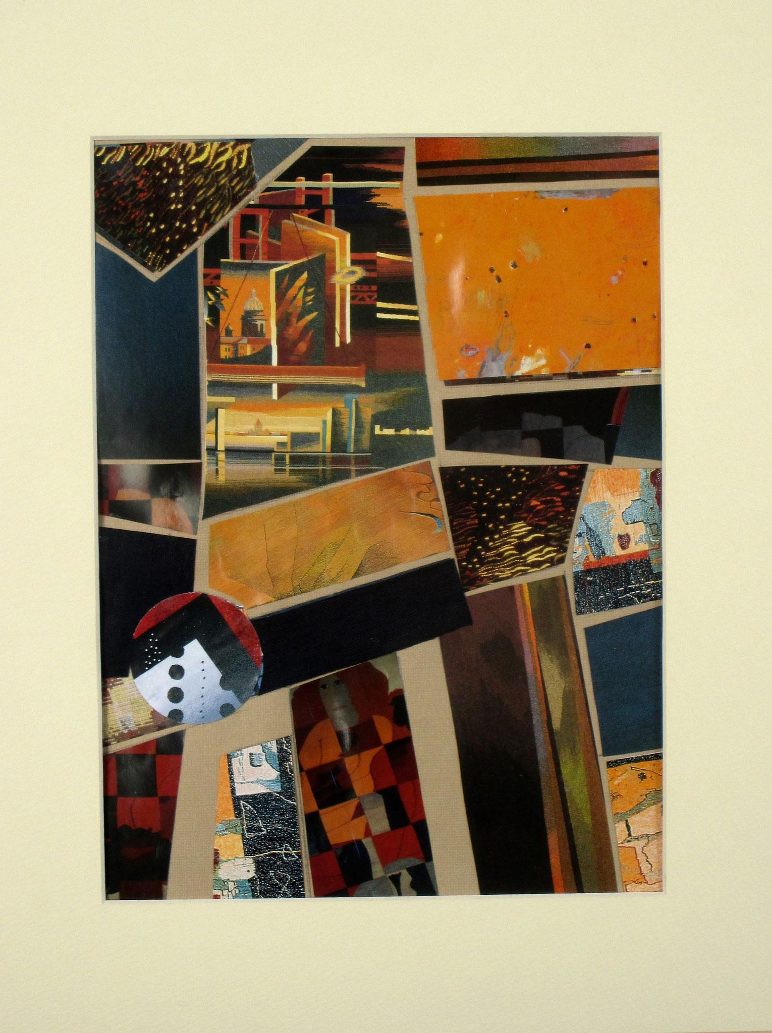 Midtown Manhattan, collage on paper, 11 x 14, matted, 2017