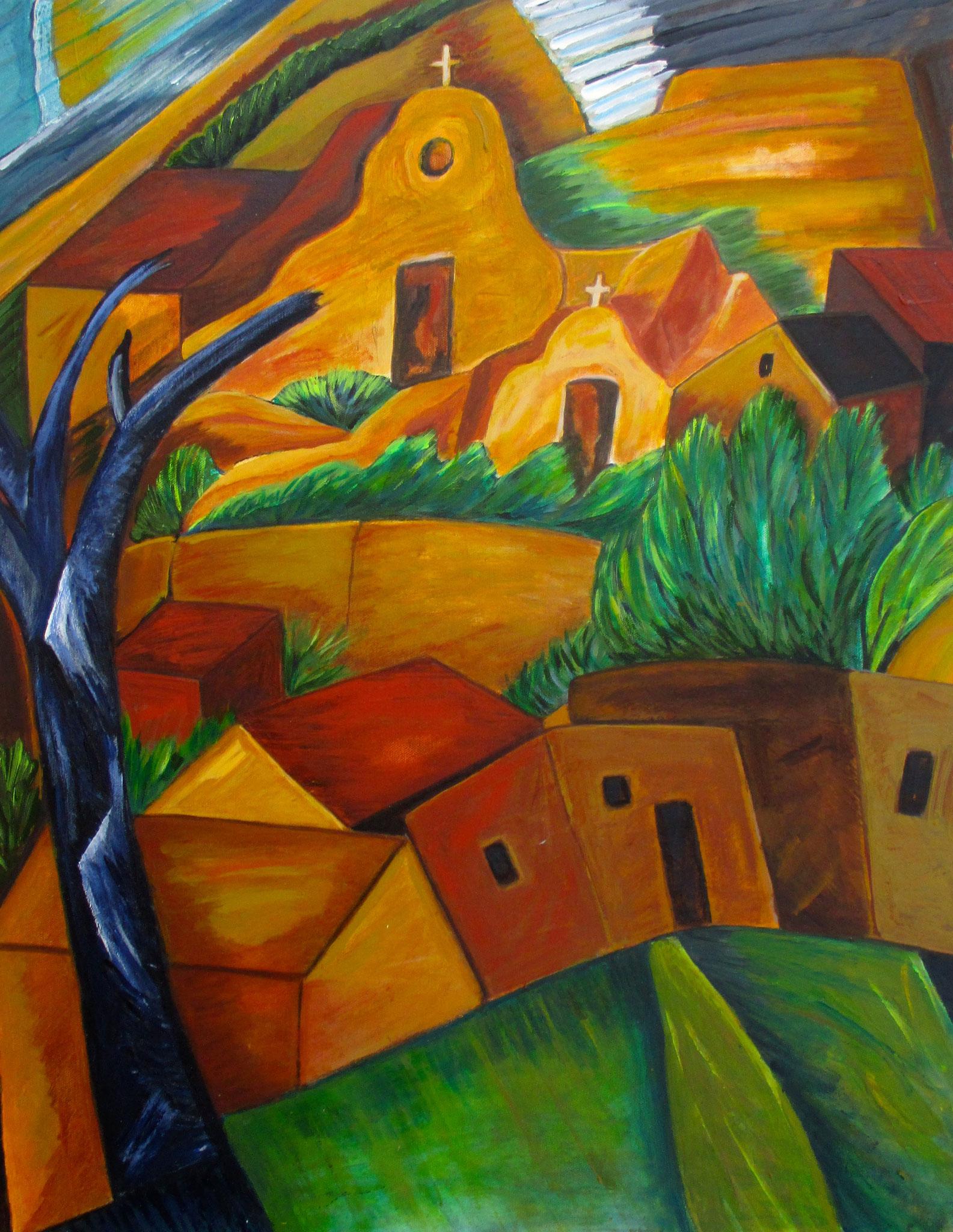High Desert Village, oil on canvas, 22 x 28