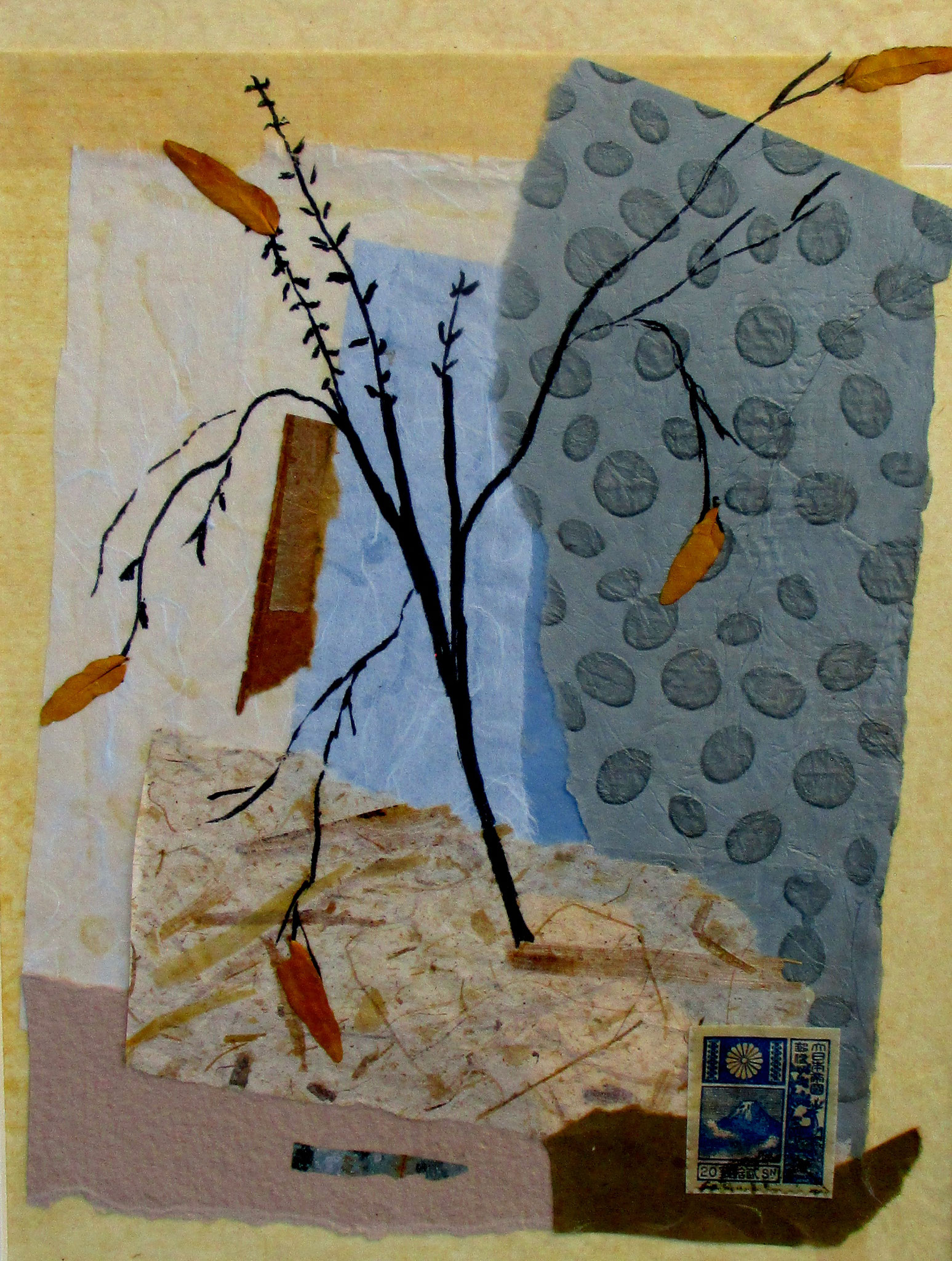 Summer Leaves 夏の葉, collage, 12 x 16 matted