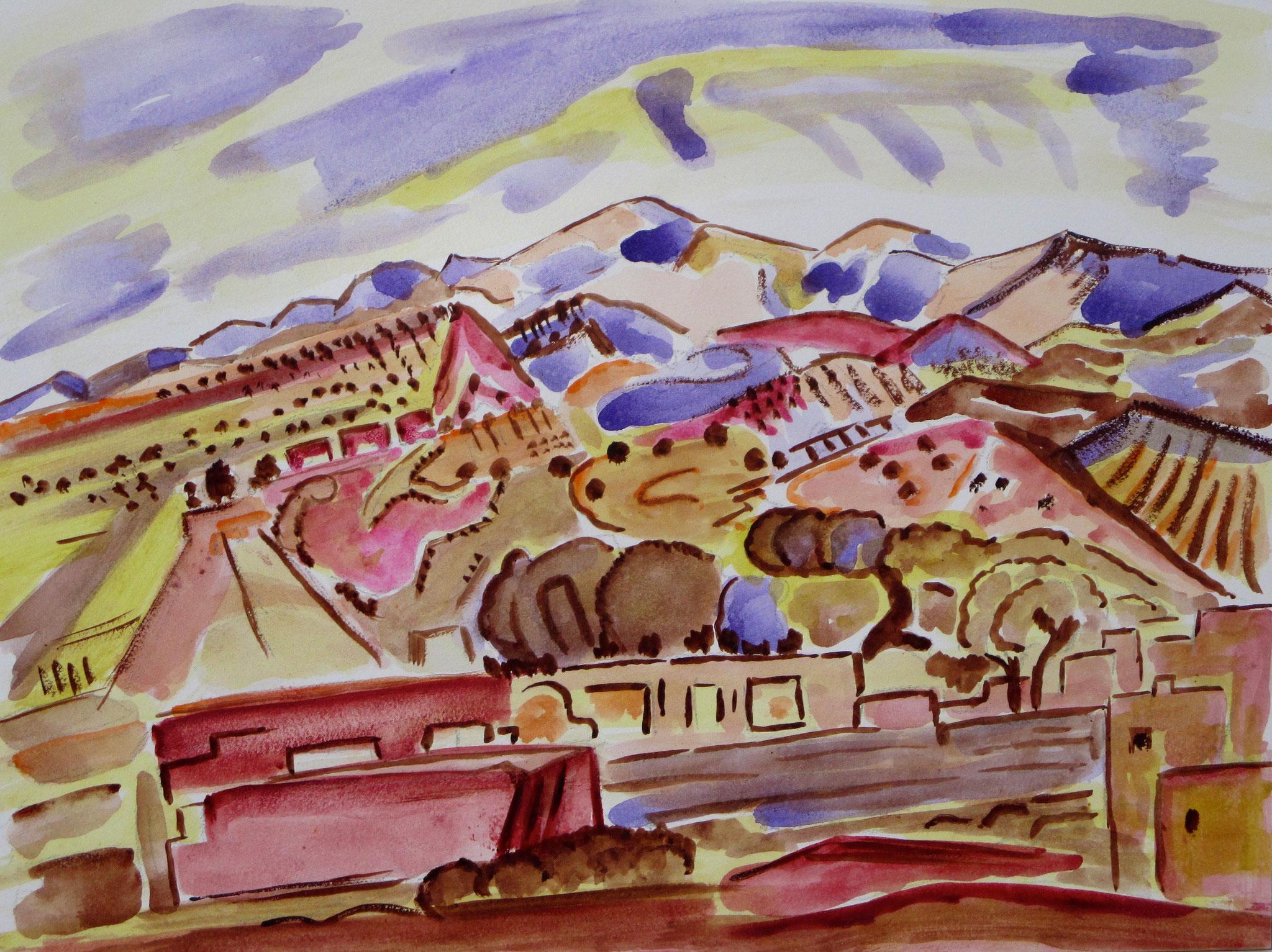 Lavender Skies, watercolor on board, 12 x 9,  SOLD