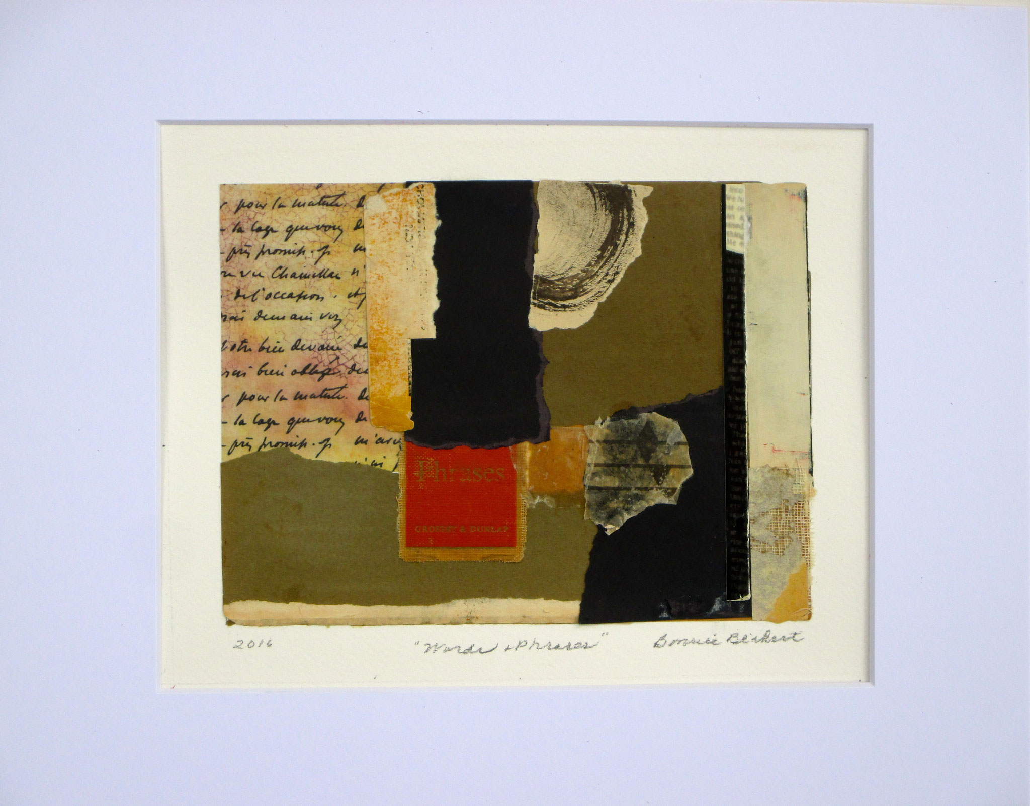 Words & Phrases, collage on paper, 14 x 11, matted, 2016, SOLD