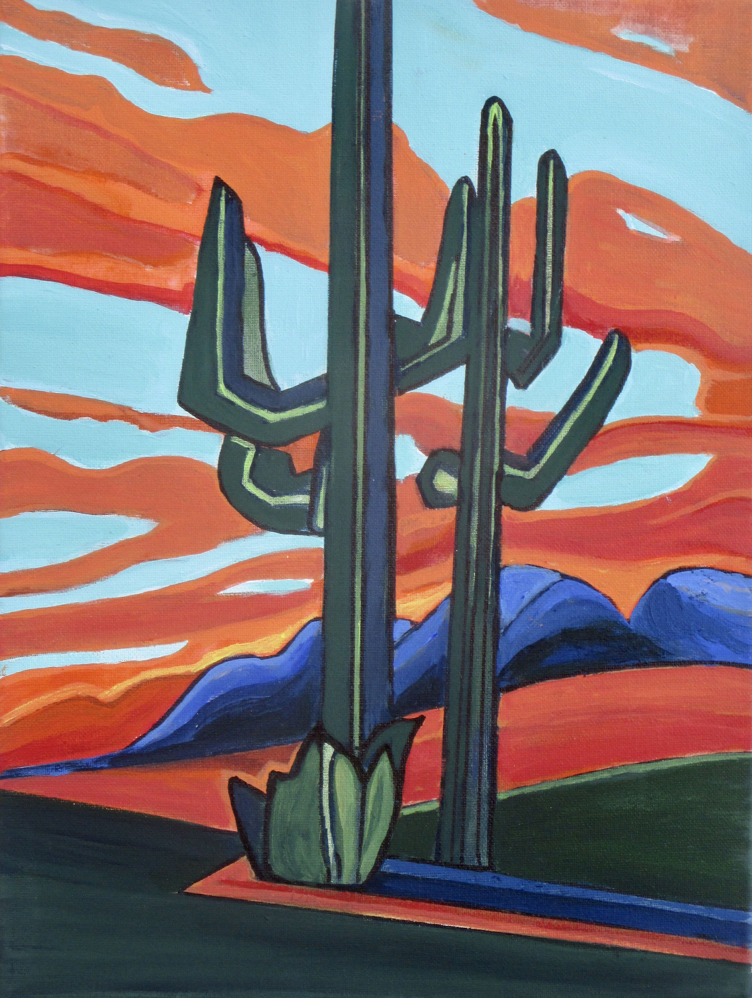 Suguaro Sunset, acrylic on canvas, 12 x 16 SOLD