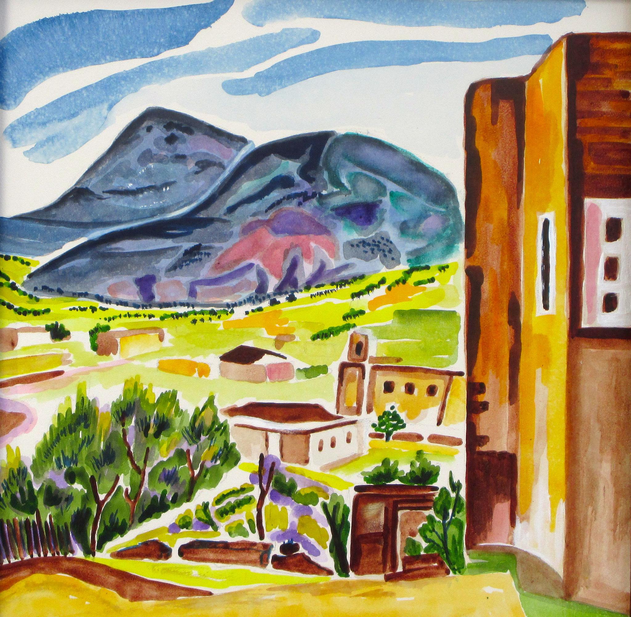 Near Madrid, watercolor on board, 12  x 12