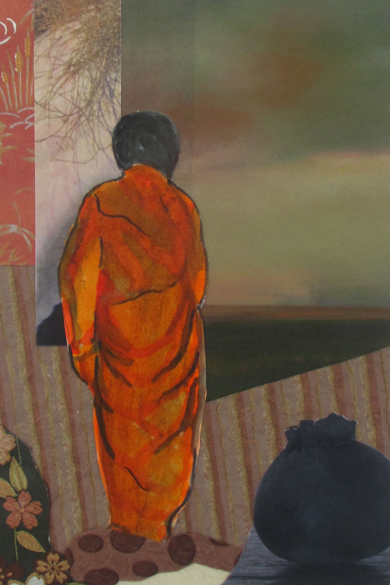 Saffron-robed Monk, watercolor, collage, 11 x 14, matted