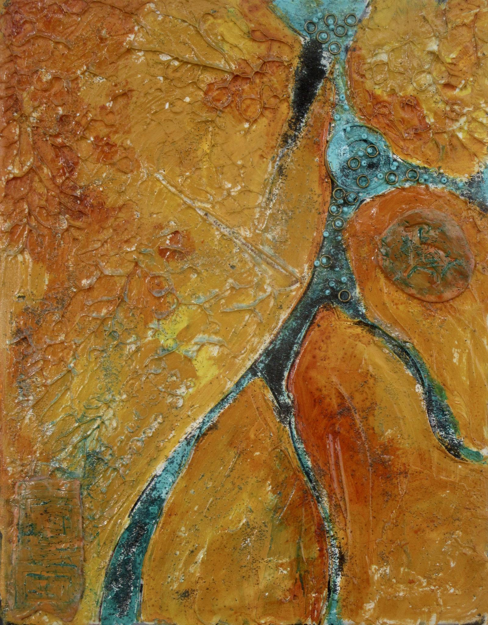 Spirit Rock, acrylic, clay, turquoise on canvas, 11 x 14