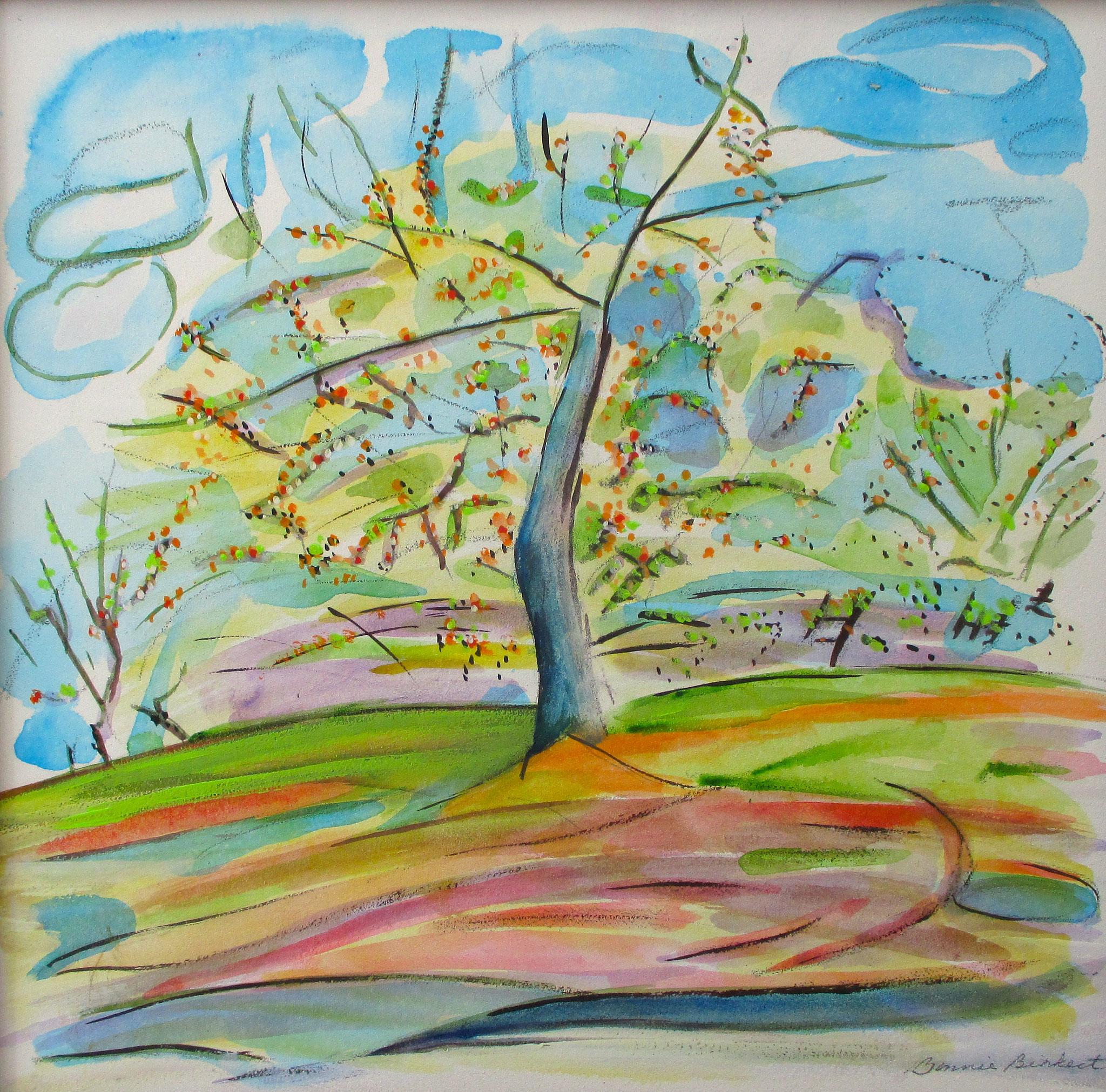 Apricot Season, watercolor on board, 12 x 12, 2016 SOLD