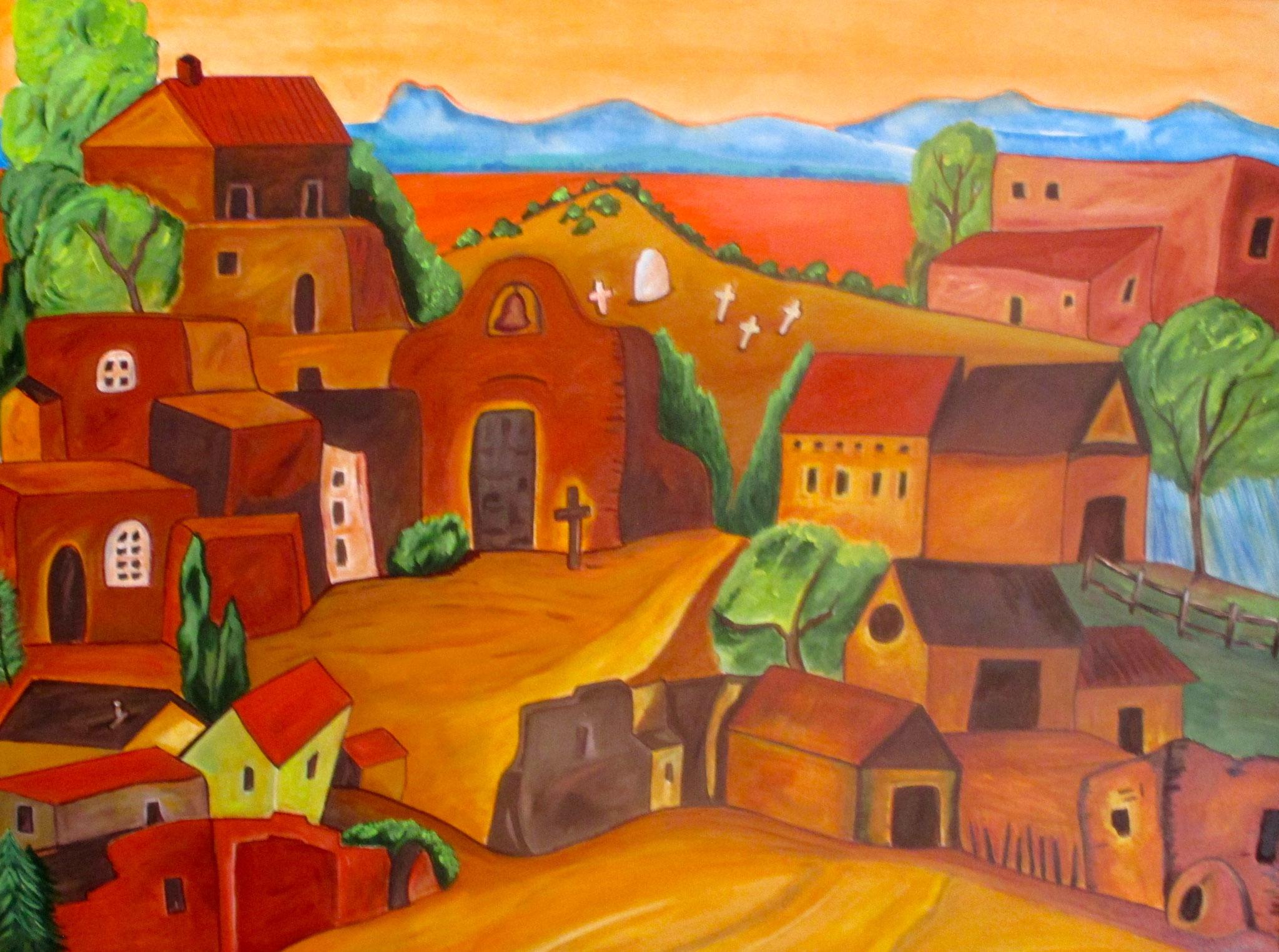 Pueblo Village, acrylic on canvas, 40 x 30 SOLD