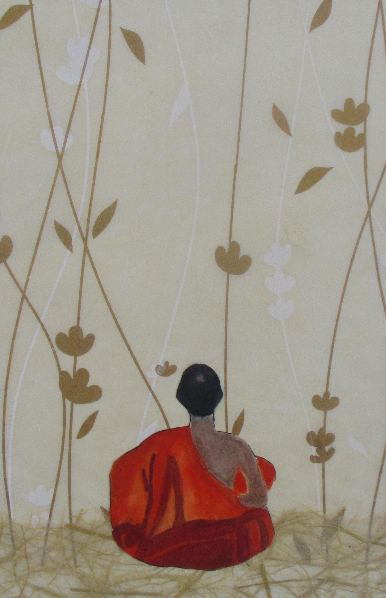 Ohbayashi (Senkoji Monk), watercolor, collage, 12 x 16, matted, 2019
