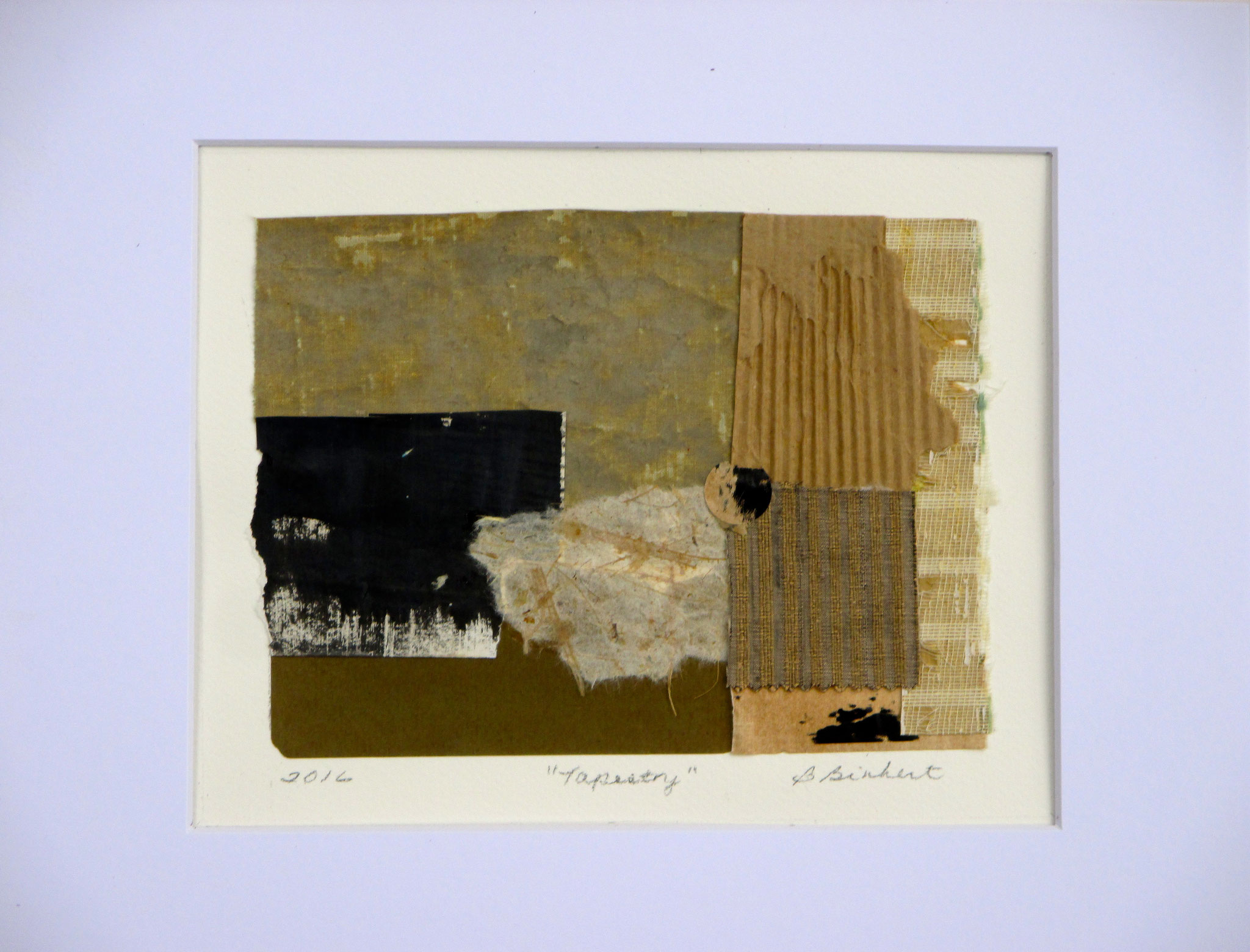 Tapestry, collage on paper, 14 x 11, matted, 2016