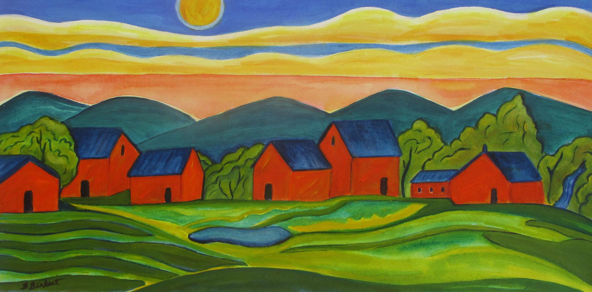 High Desert Village, acrylic on canvas, 24 x 12 SOLD
