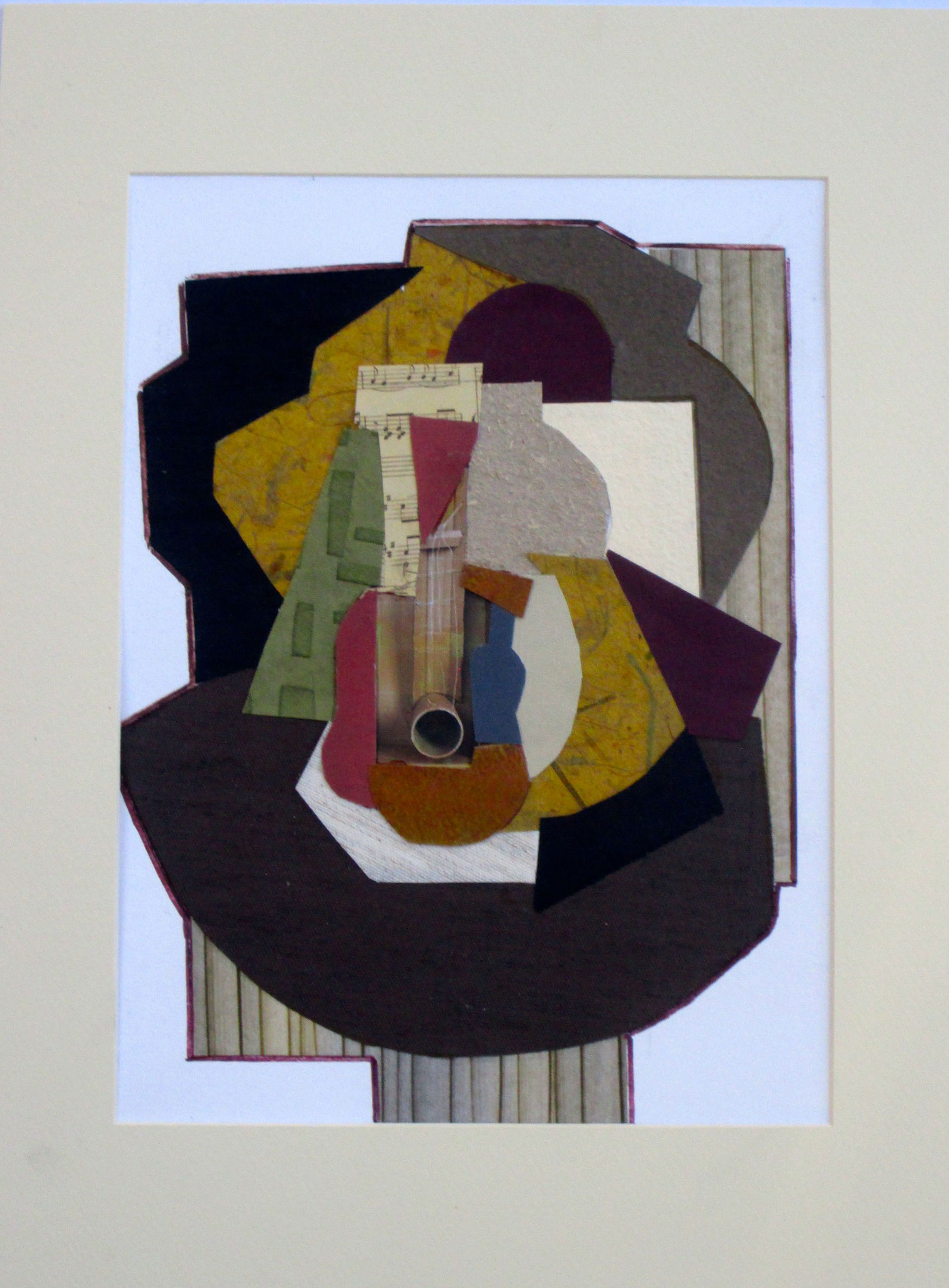 Cubist Guitar, collage on paper, 12 x 16, matted, 2017