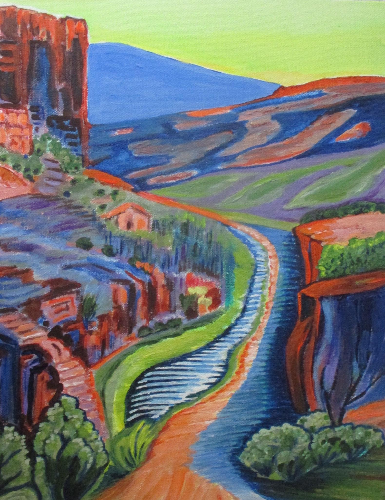 Along the Rio Grande, acrylic on canvas, 11 x 14