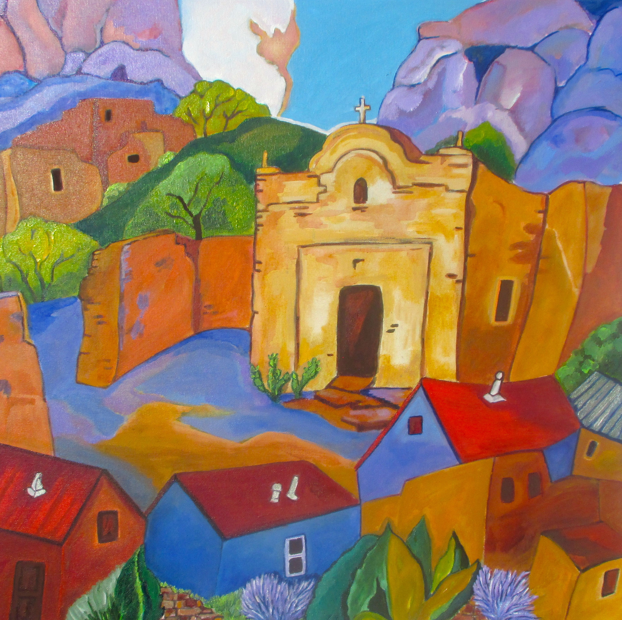 Anglo Village, acrylic on canvas, 24 x 24, SOLD