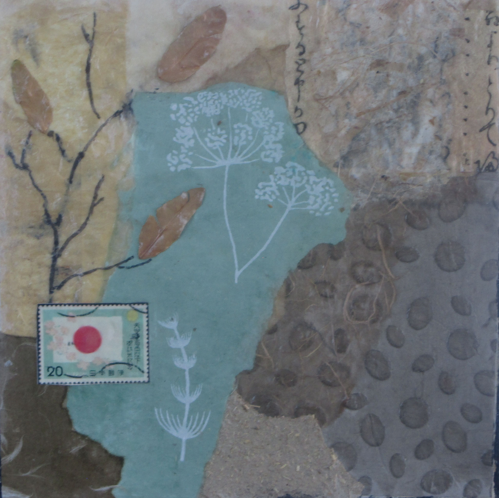 Early Spring, Collage, ink, Mulberry papers, 10 x 10 SOLD