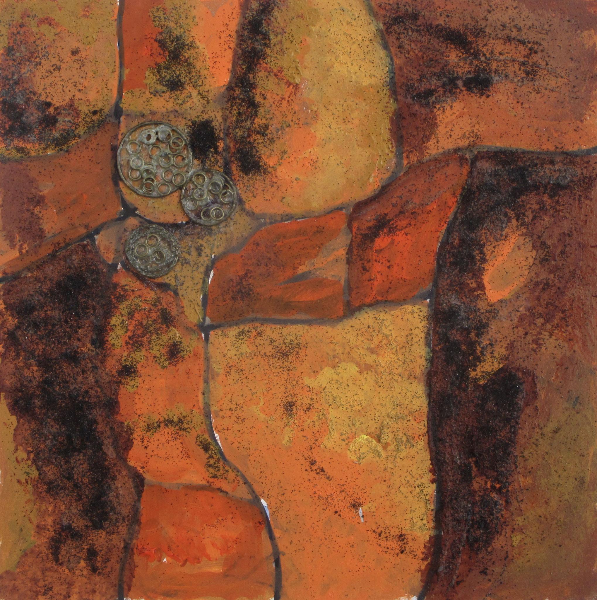Circle of Life, acrylic, clay on board, 12 x 12