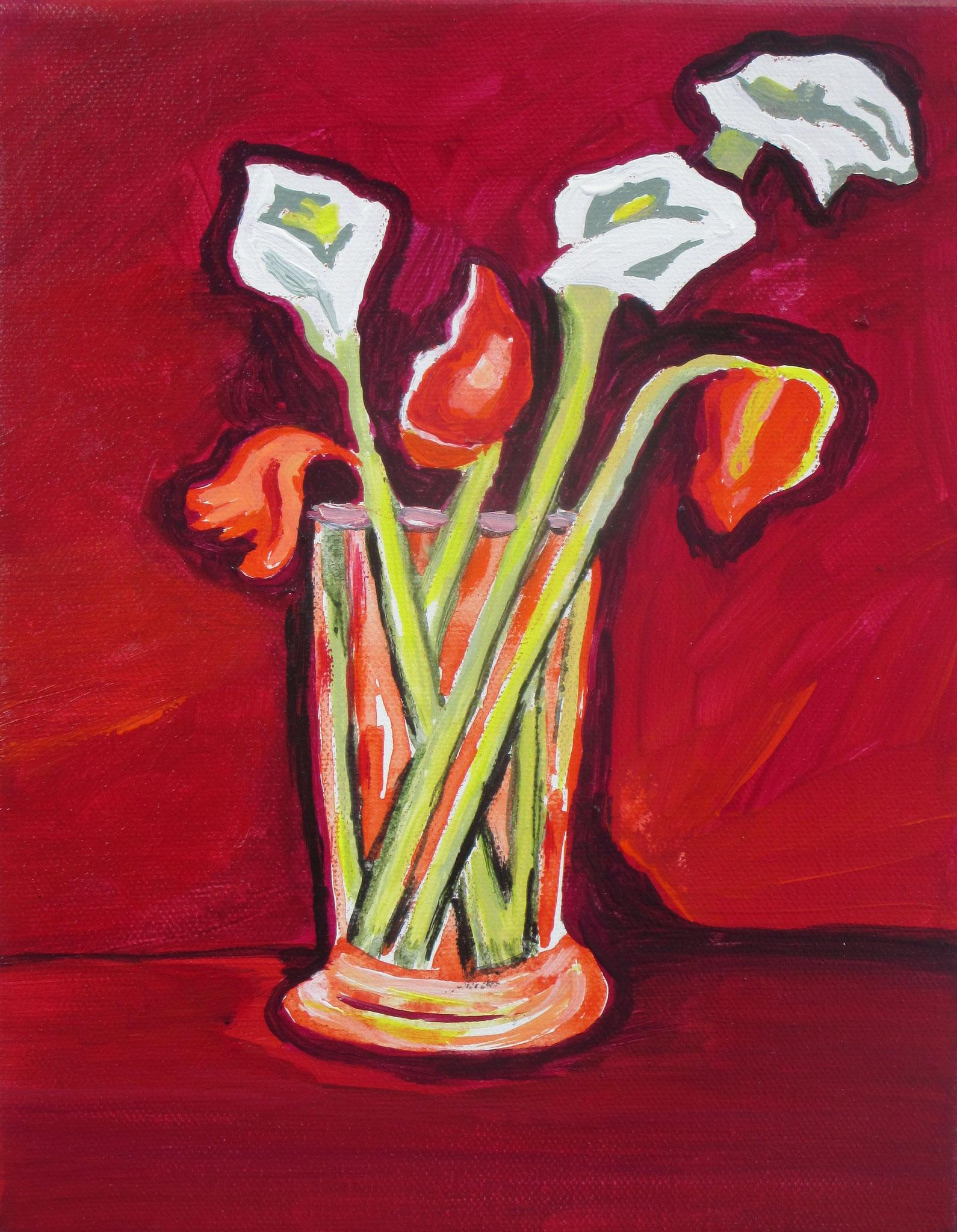 Cala Lilies, acrylic on canvas, 8 x 10