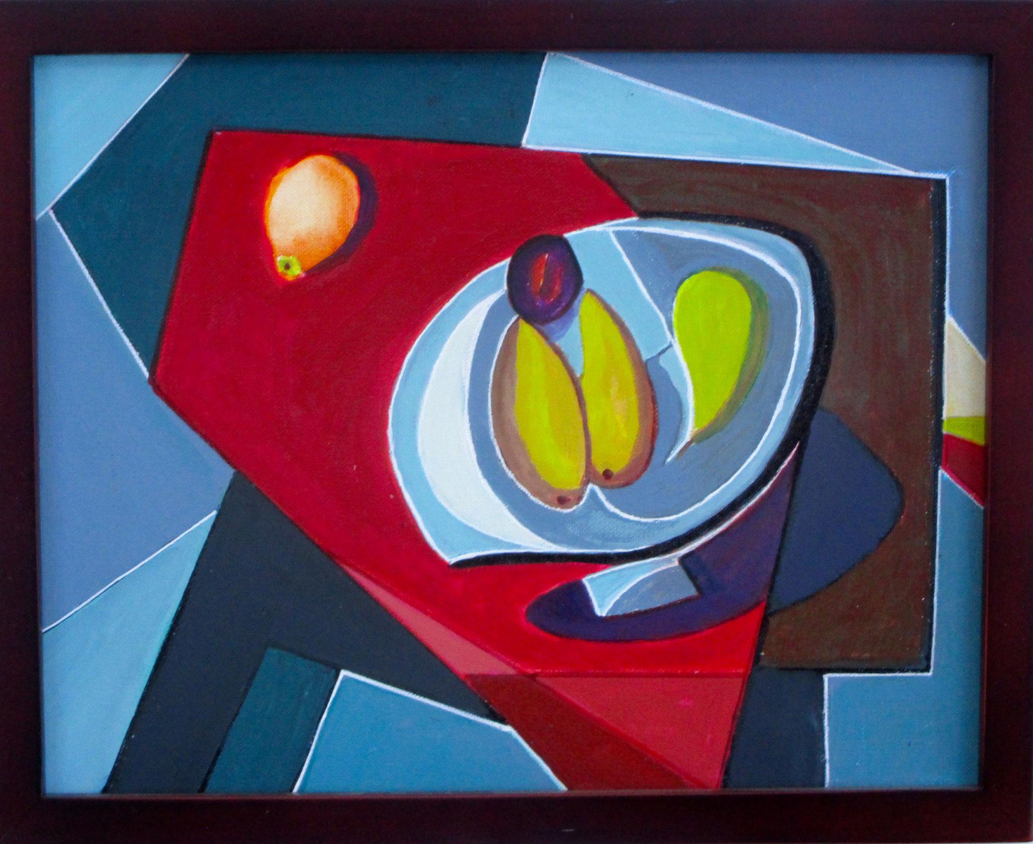 Nambe Fruit Bowl, acrylic on canvas, 14 x 11