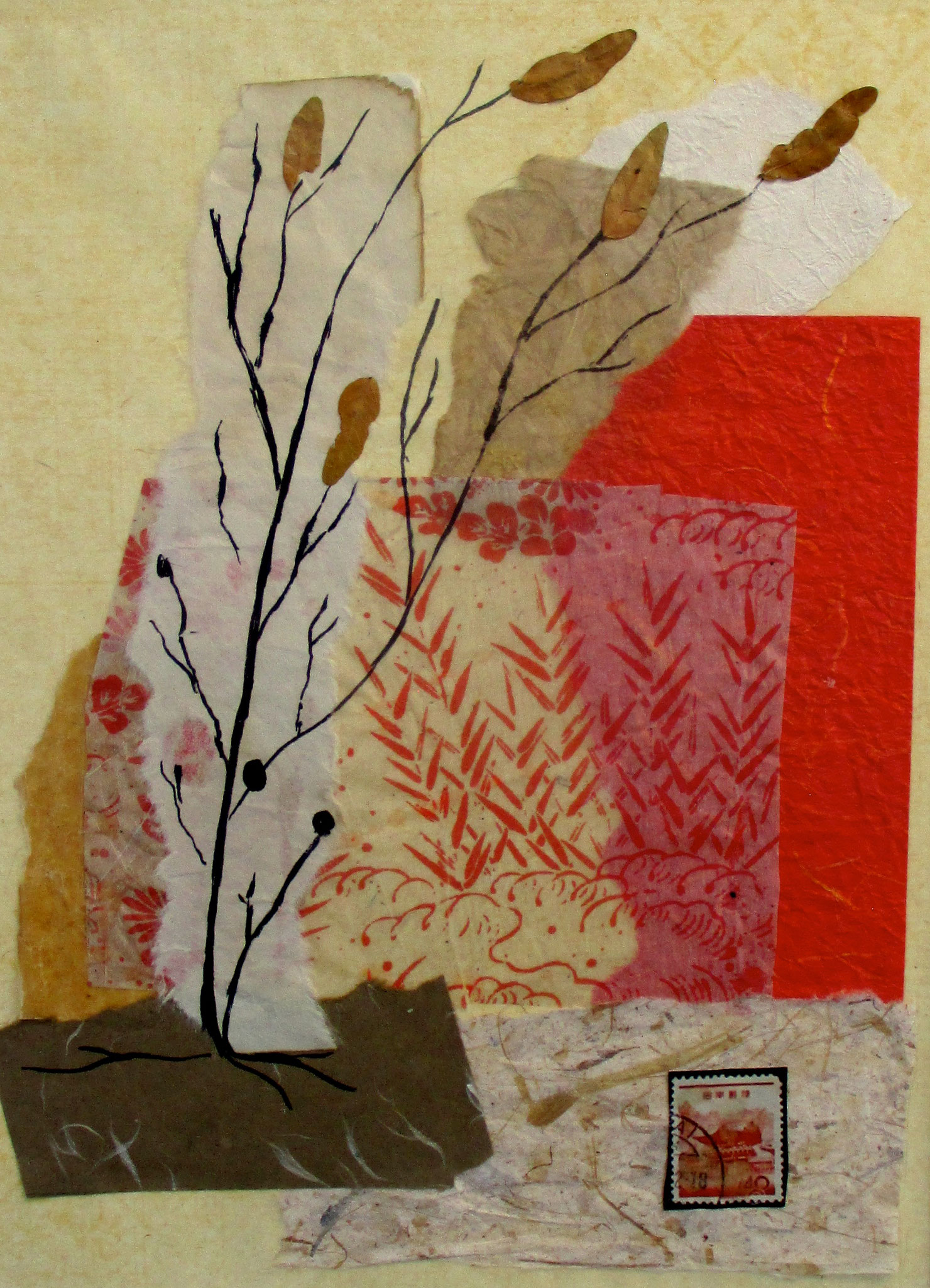 Autumn Leaves  紅葉, collage, 12 x 16 matted
