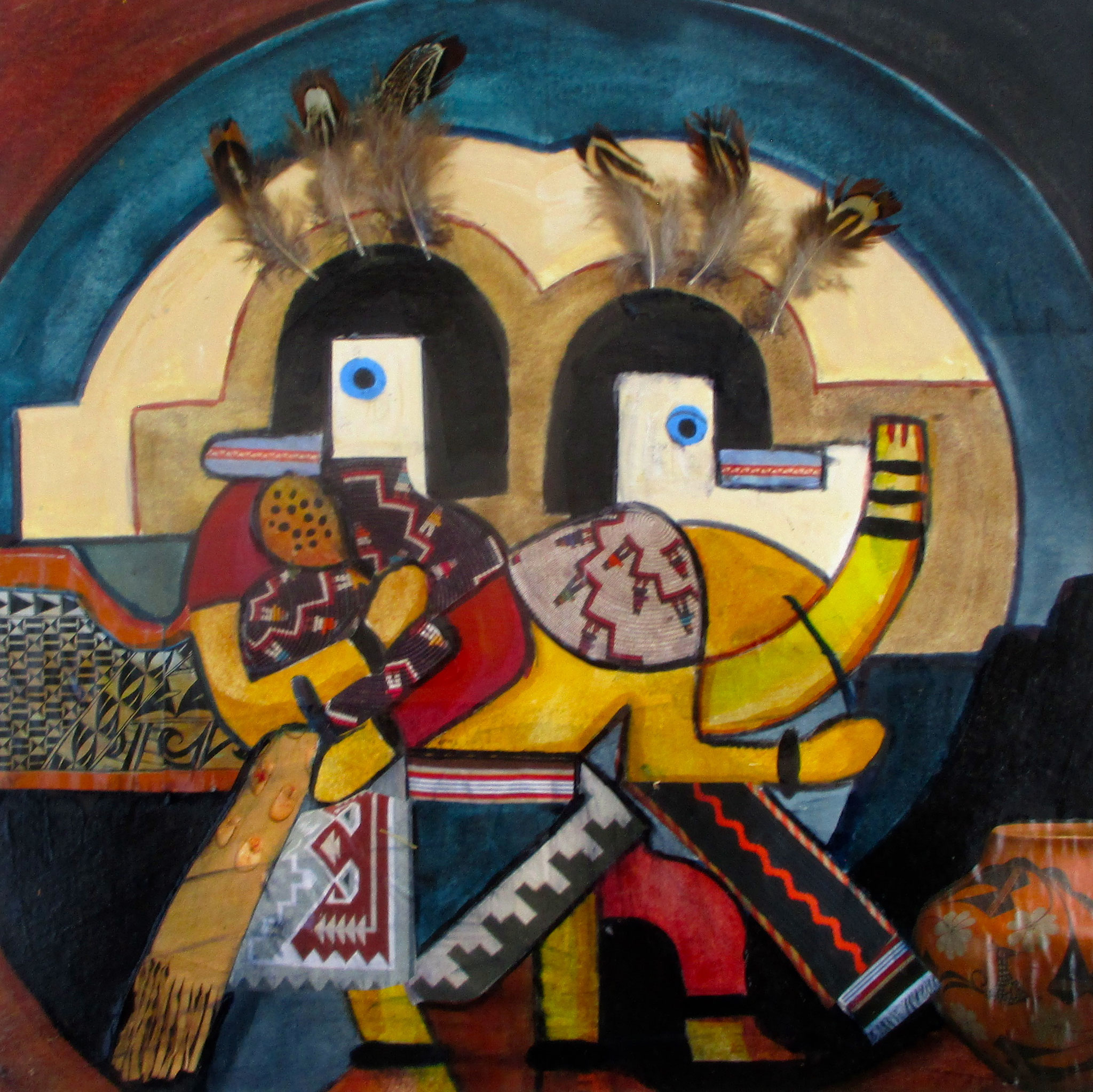San Geronimo Runners, acrylic, collage on paper, 16 x 16 SOLD