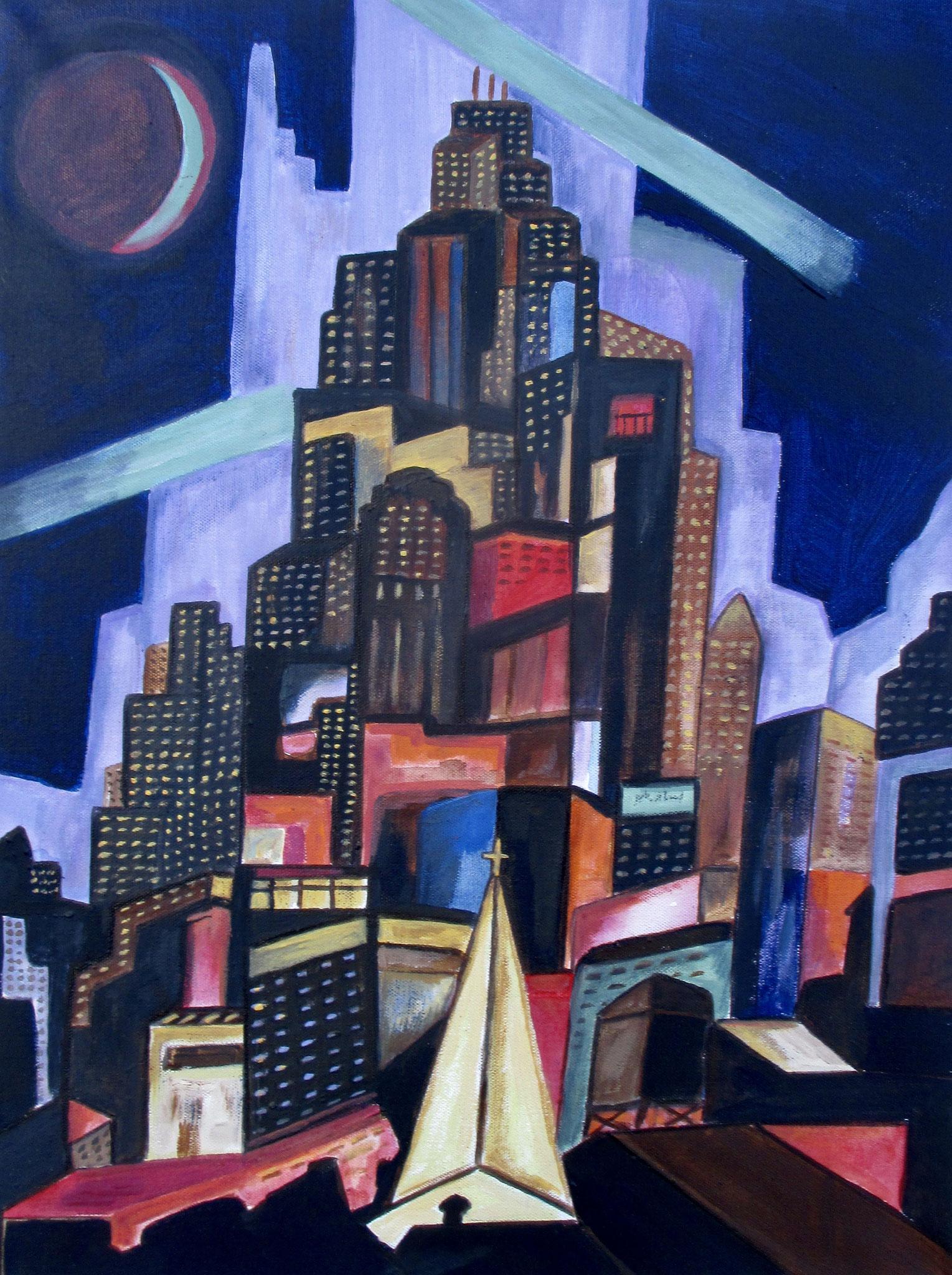City Lights, acrylic on canvas, 18 x 24