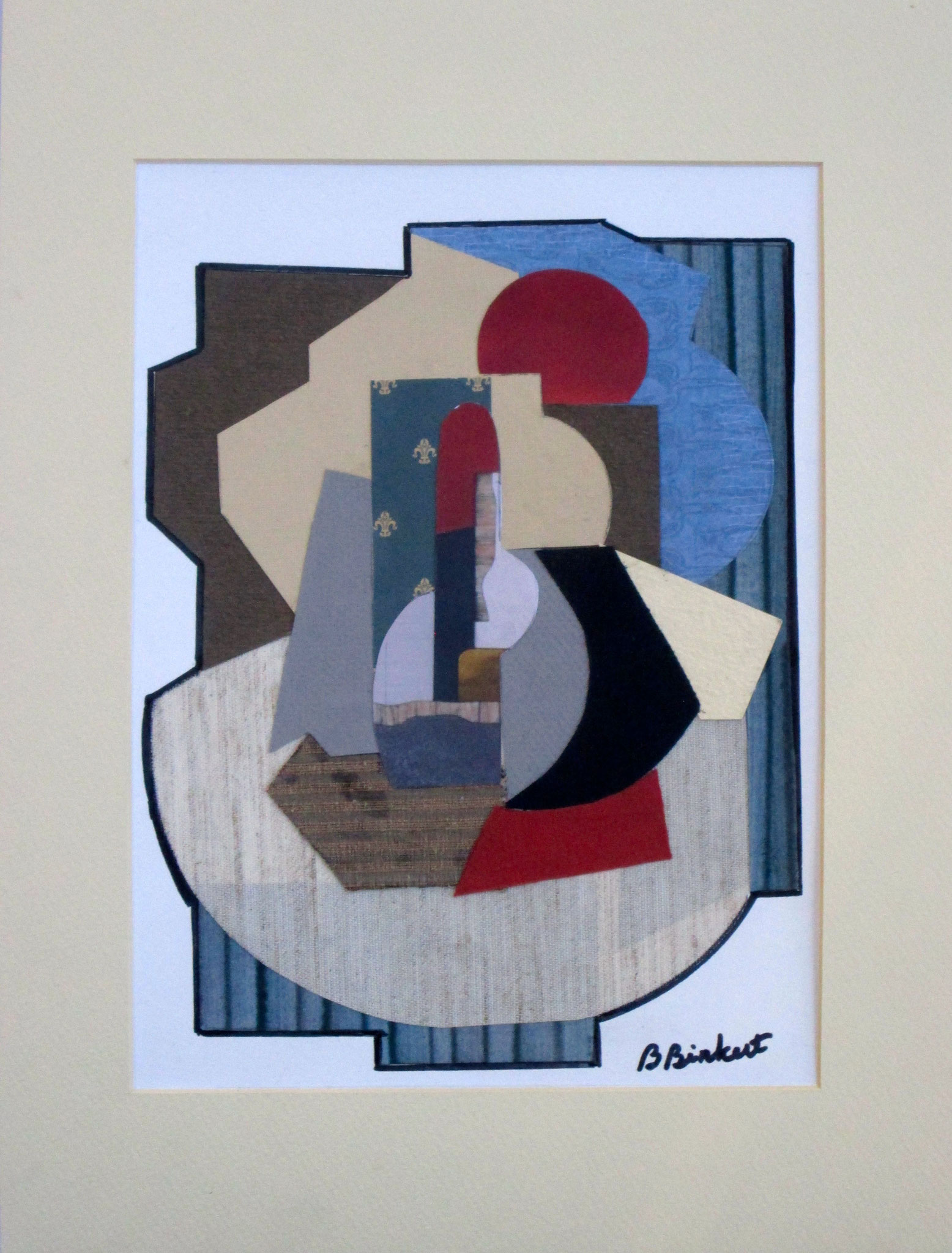 Ode to Cubism, collage on paper, 12 x 16, matted, 2017