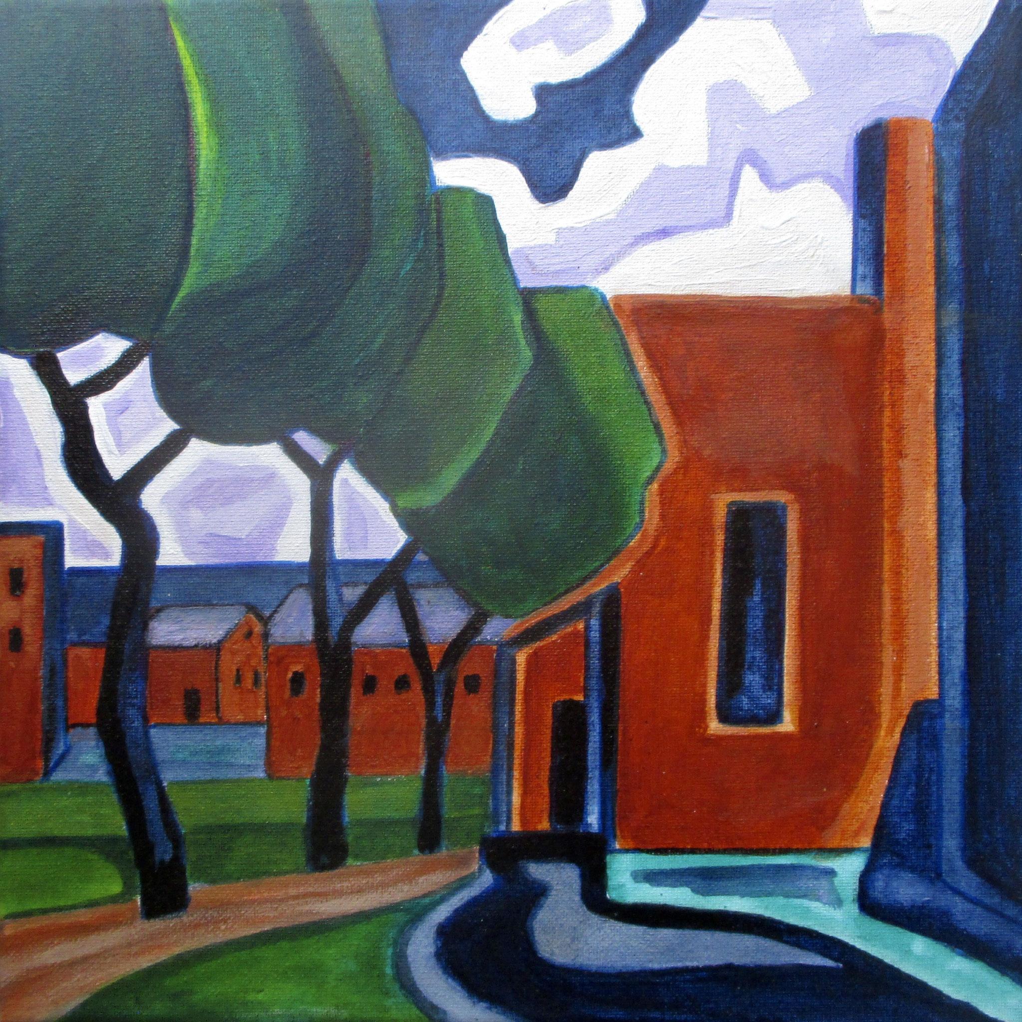 Adobe Village, acrylic on canvas, 12 x 12