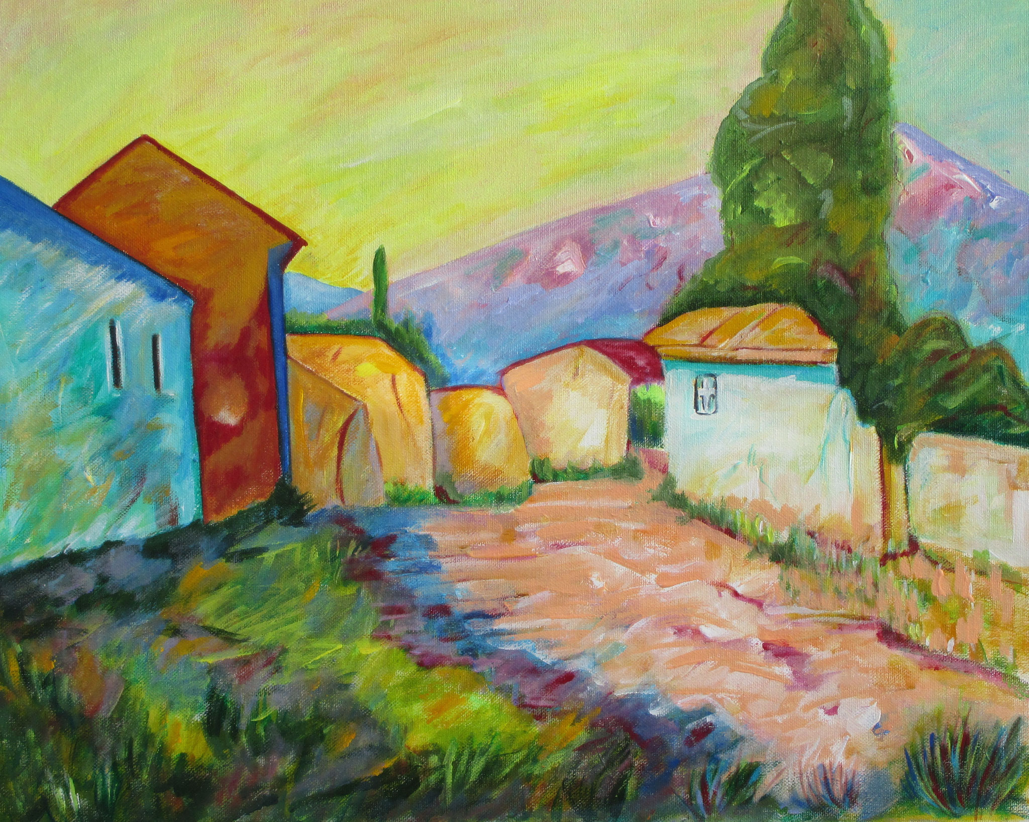 Along the Turquoise Trail, oil on canvas, 20 x 16, SOLD