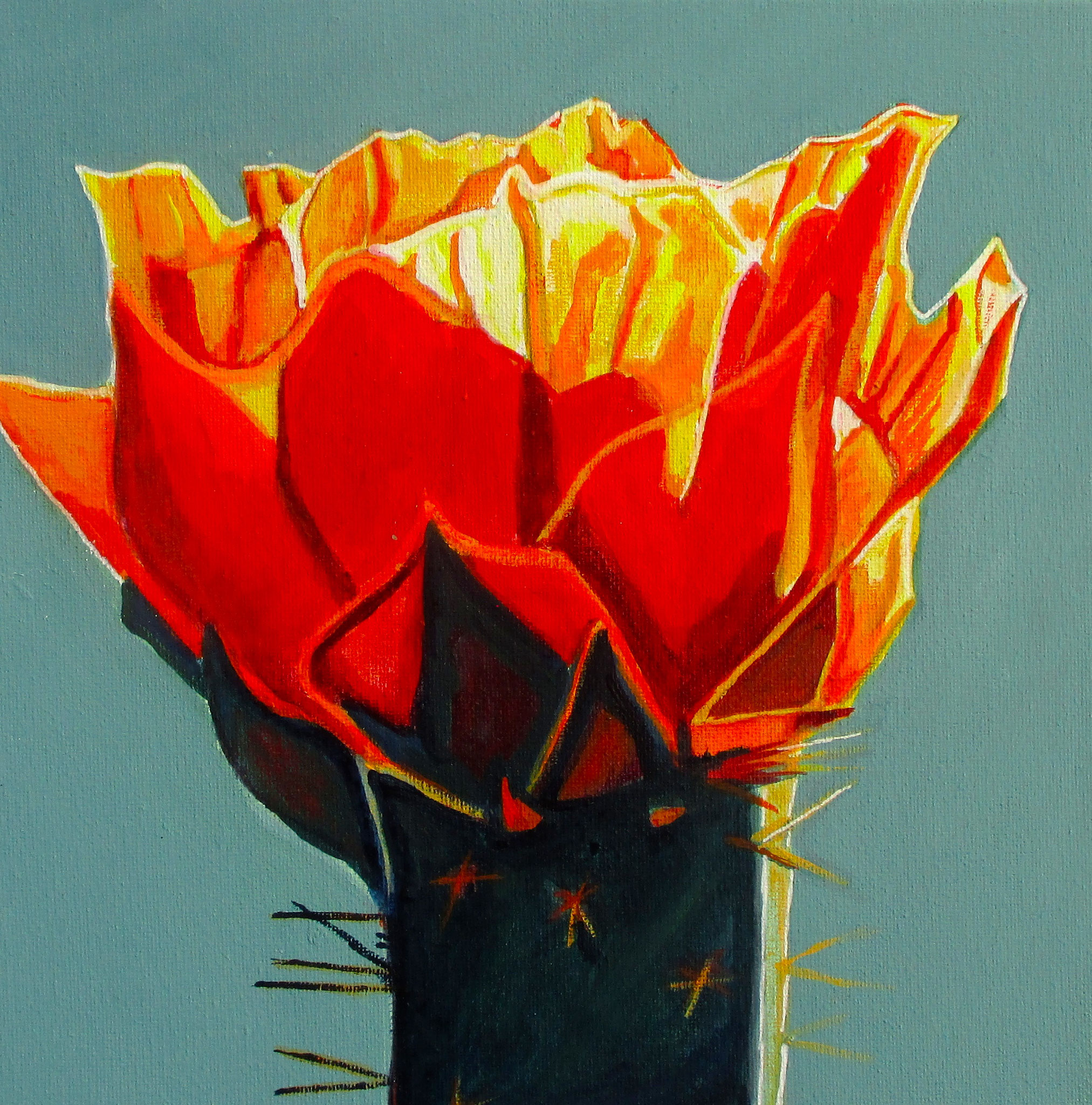 Firecracker Blossom, acrylic on canvas, 10 x 10, 2018 SOLD