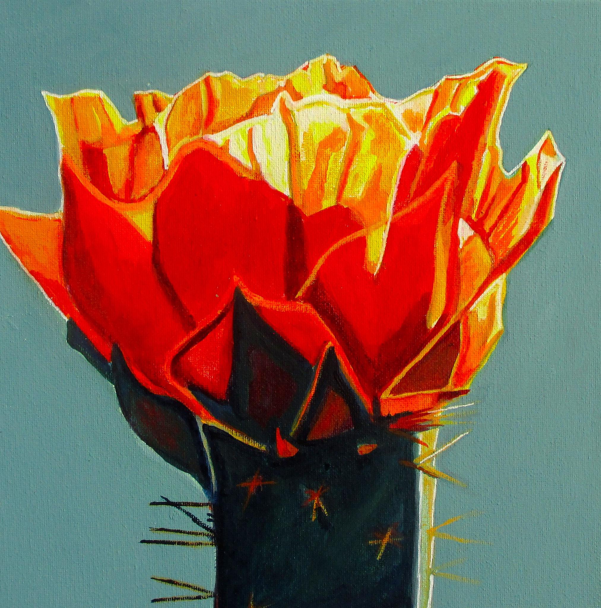 Firecracker Blossom, acrylic on canvas, 10 x 10,  SOLD