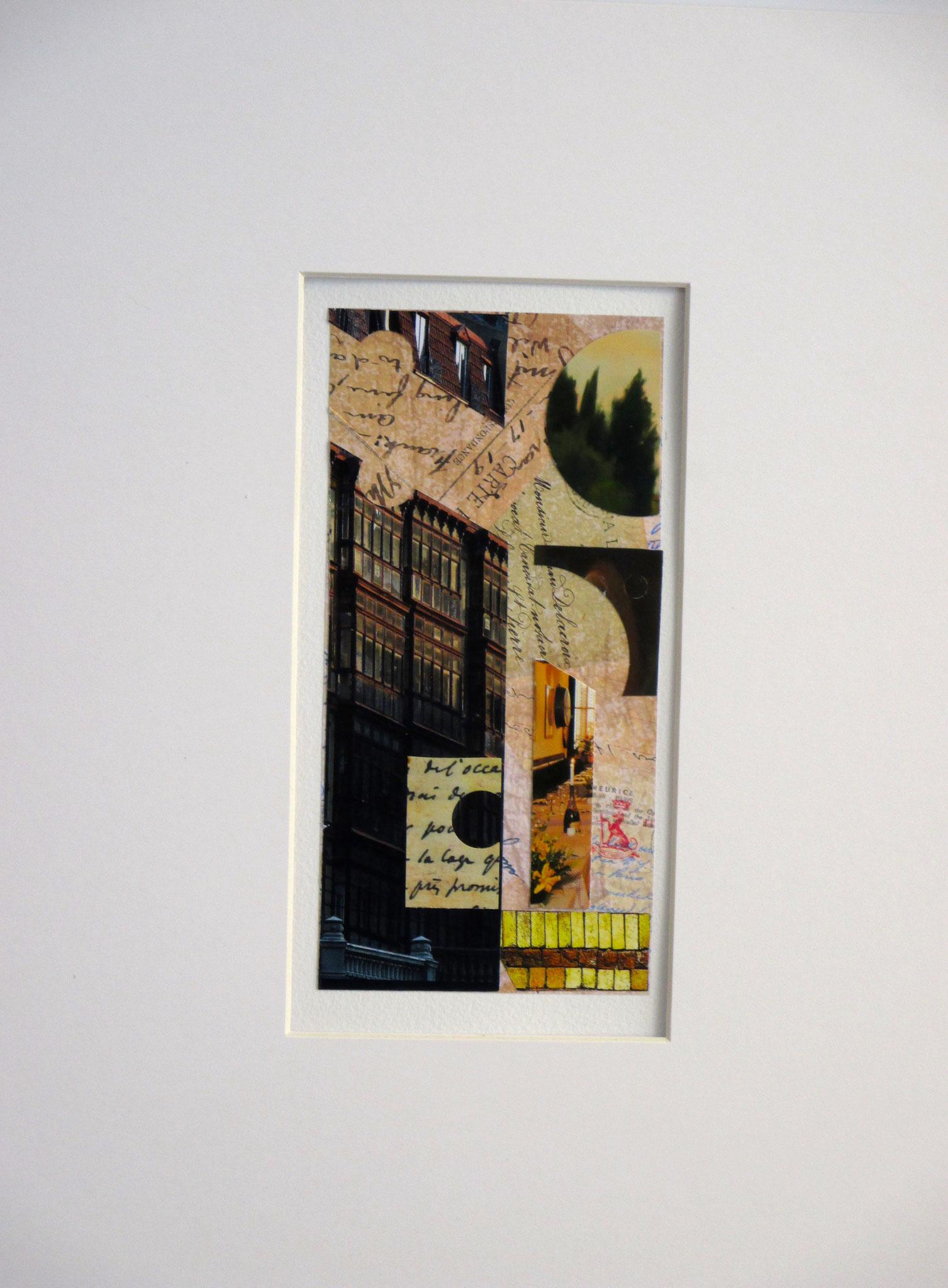Les Baux de Provence, collage on paper, 11 x 14, matted, 2016, SOLD