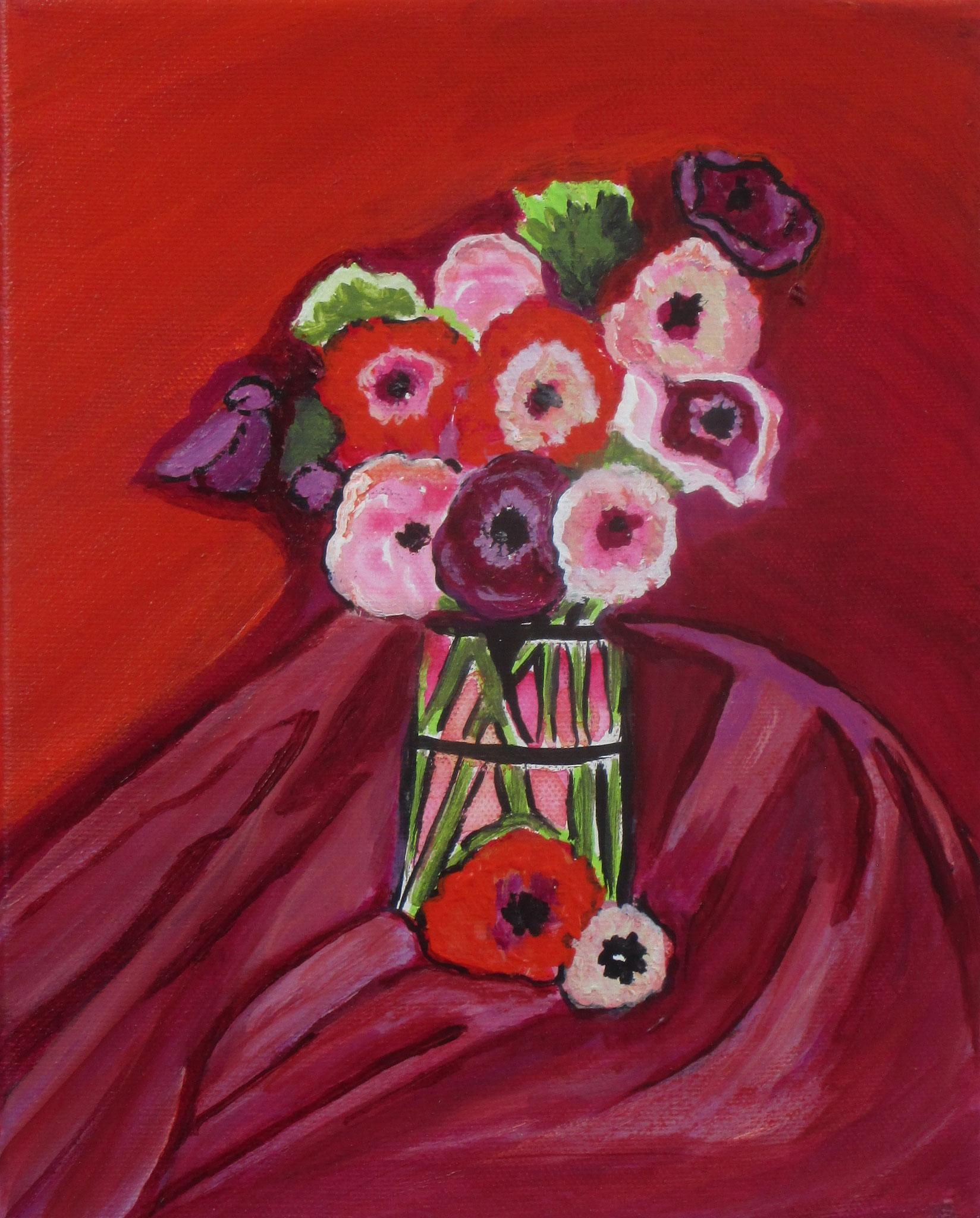 Anemones, acrylic on canvas, 8 x 10