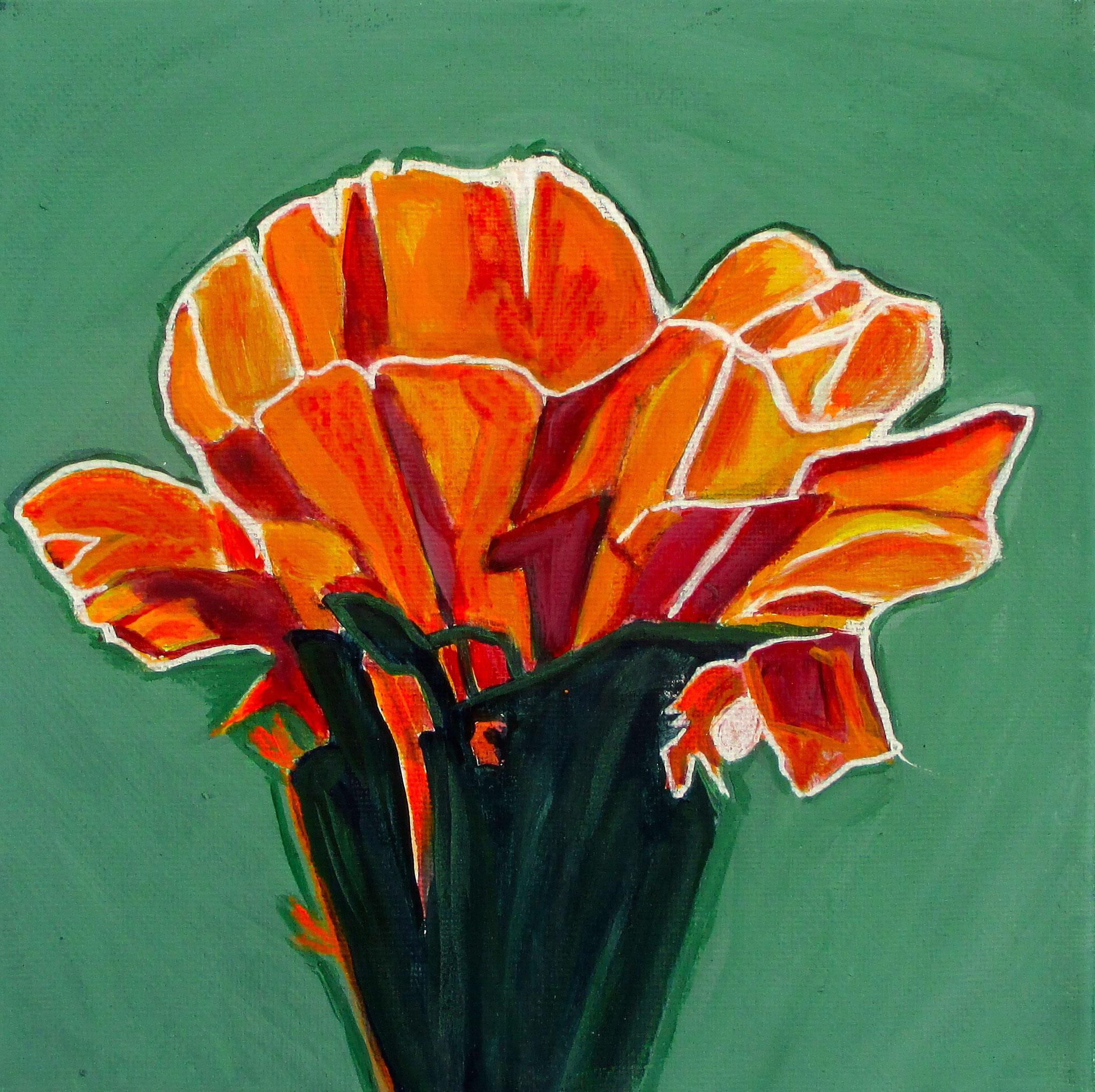 Apricot Glow, acrylic on canvas, 8 x 8, 2018