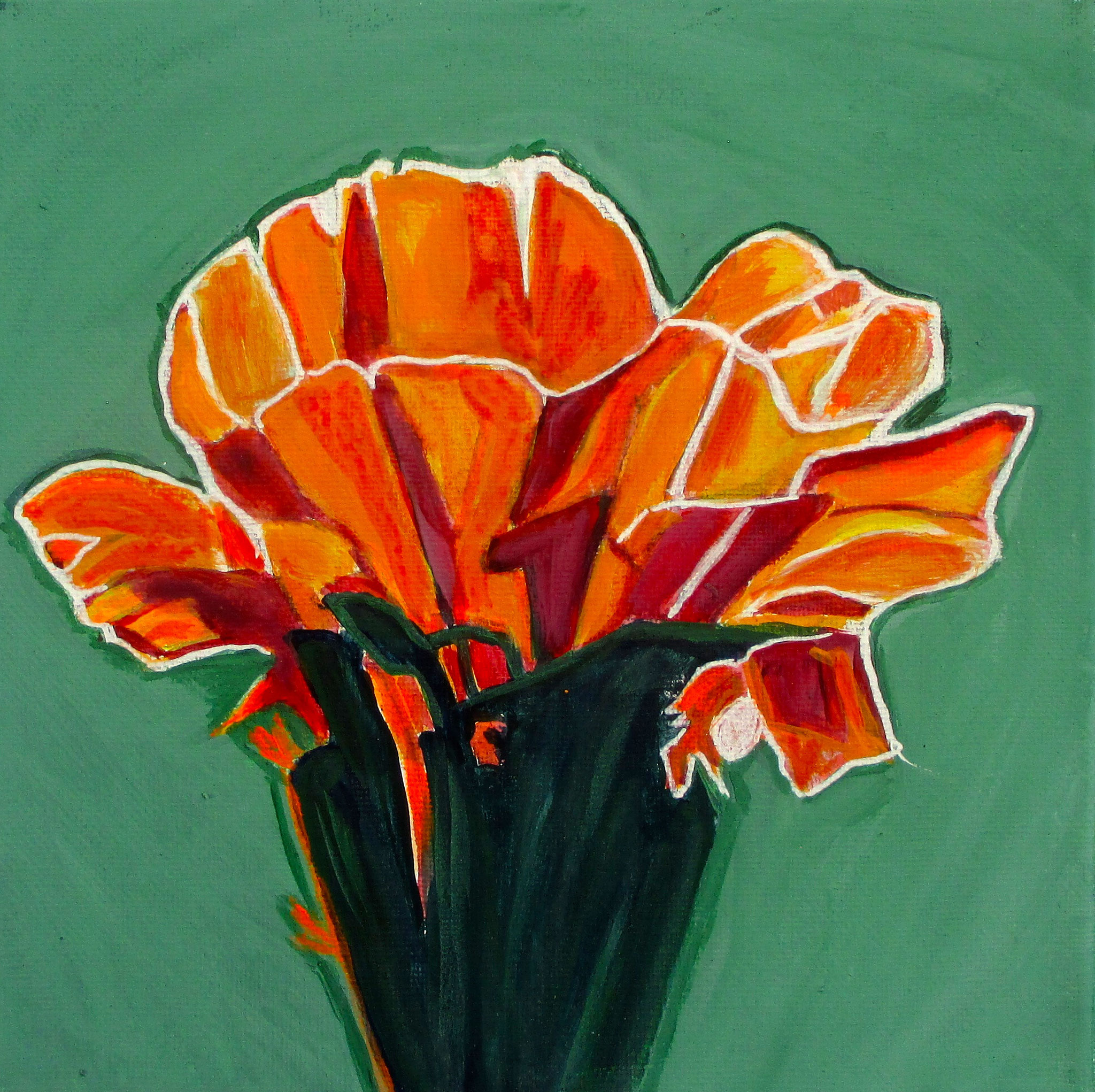 Apricot Glow, acrylic on canvas, 8 x 8