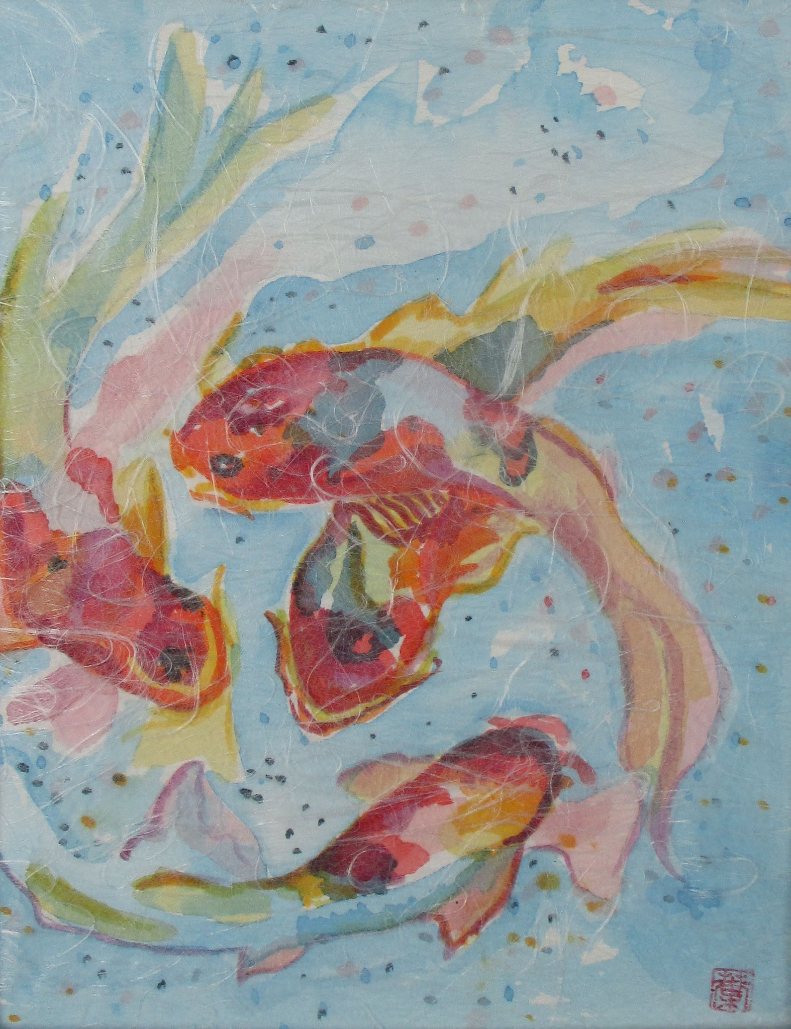 Koi, watercolor, Washi paper overlay, 11 x 14, matted