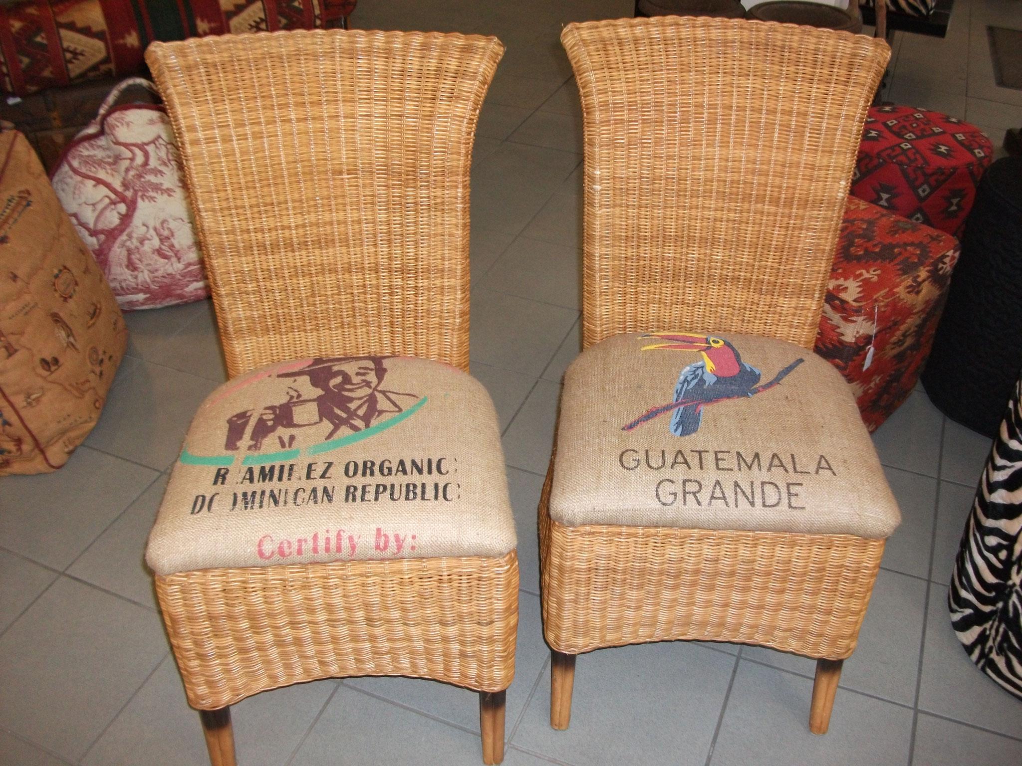 Kaffeesack-Sitzkissen für Korbsessel einer Privatkundin
