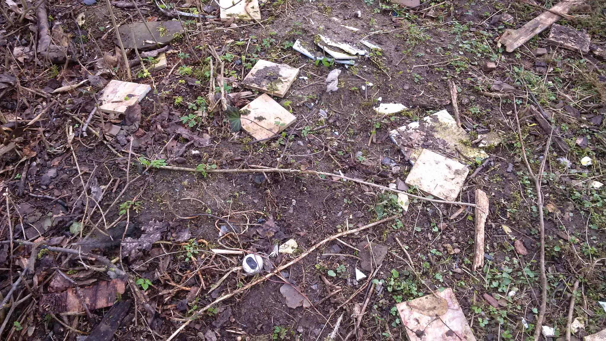 Auch außerhalb des Geheges Hinweise darauf, dass der Garten auch als Mülldeponie herhielt.