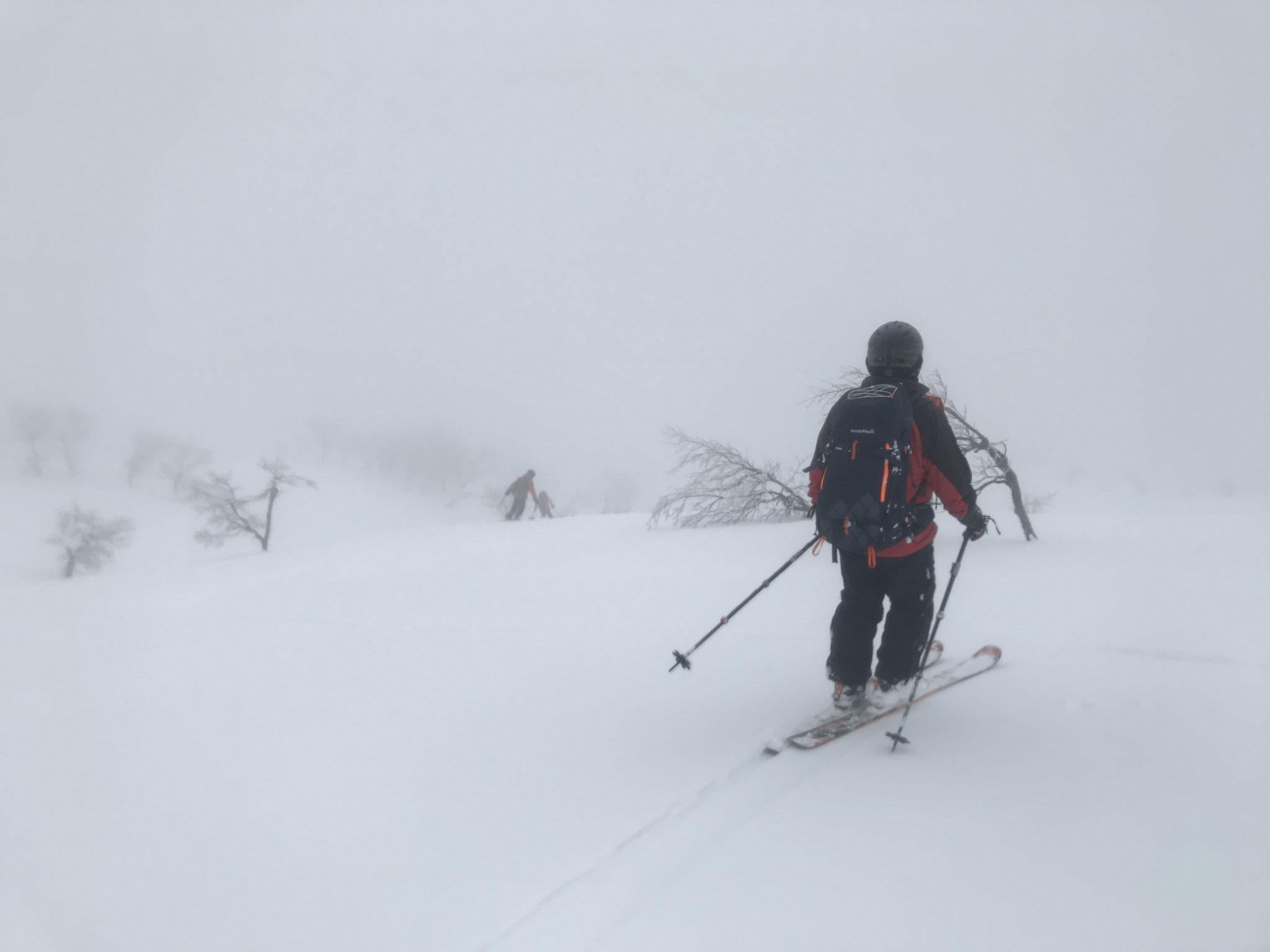 上部は雪質良いが、視界が悪く、思い切って滑れない