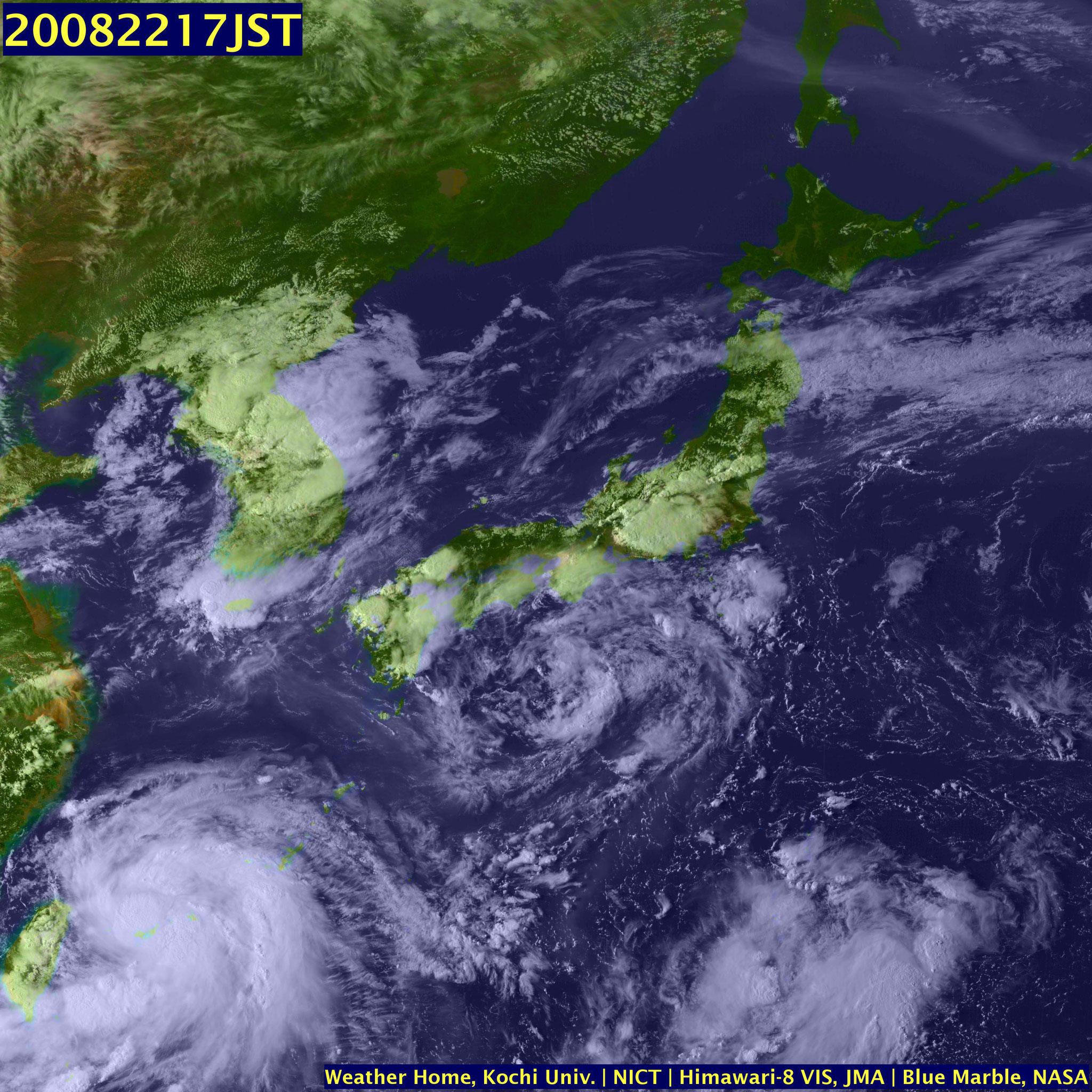 8/22 17時 関東地方には積乱雲が広がっている